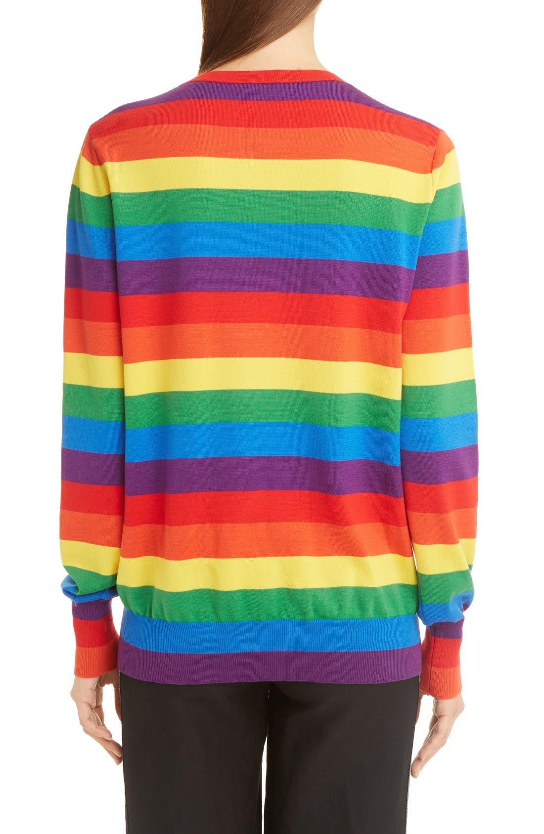 Alternate Image 2  - Loewe Cat Rainbow Stripe Wool Blend Sweater