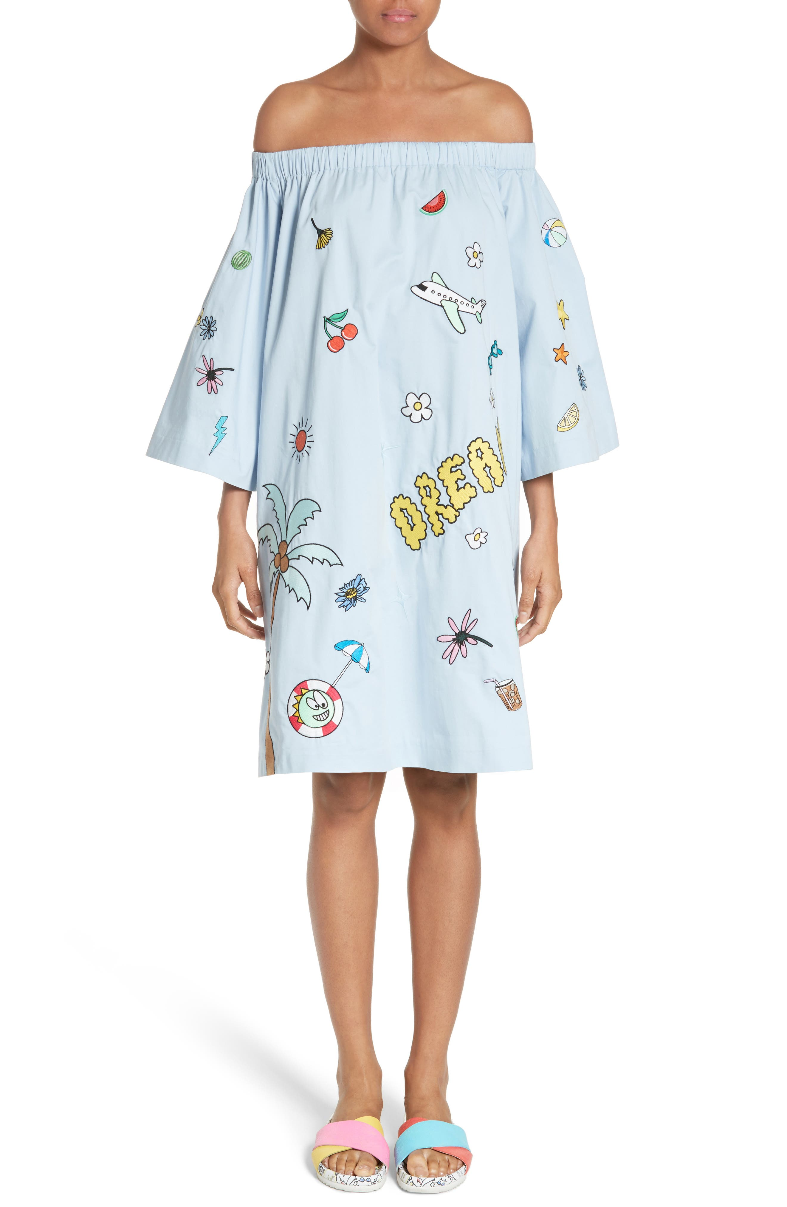 MIRA MIKATI Off the Shoulder Embroidered Dress