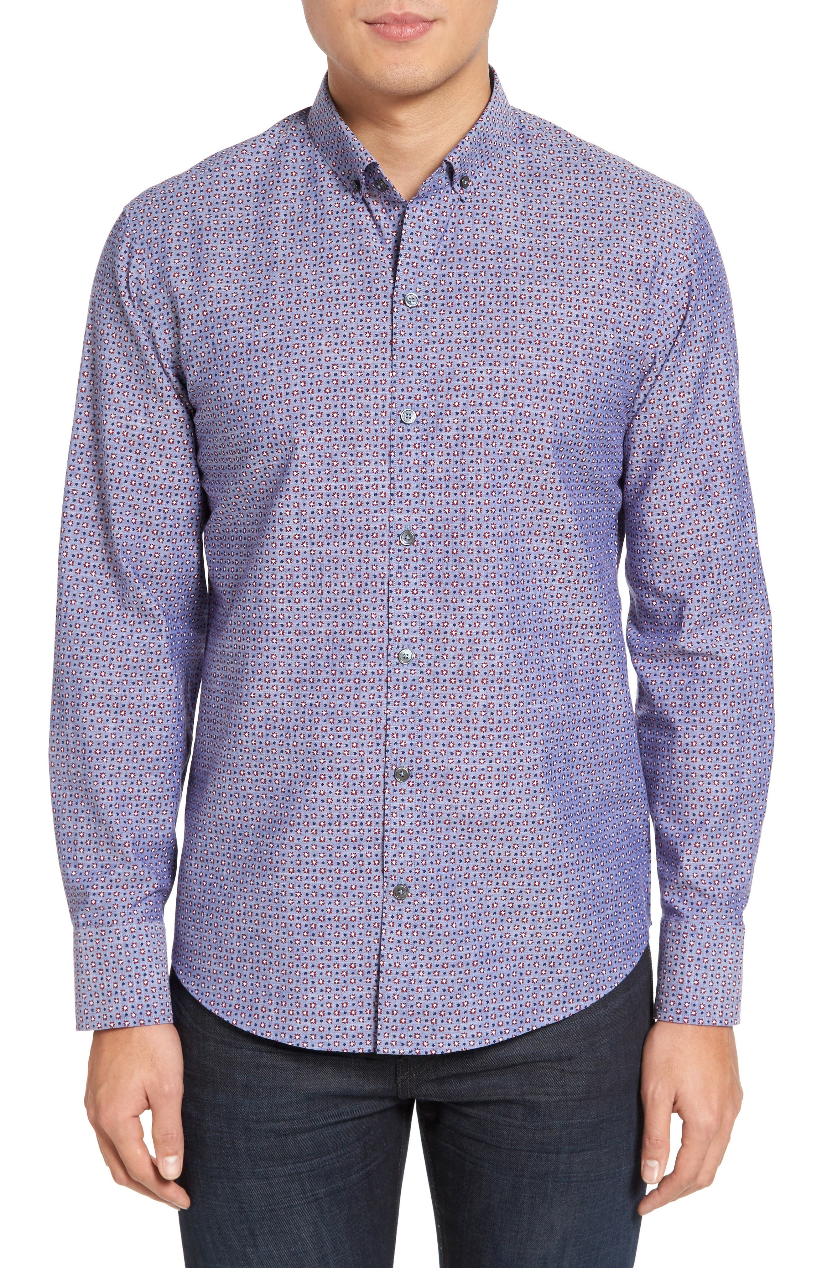 Zachary Prell Chernow Trim Fit Print Sport Shirt