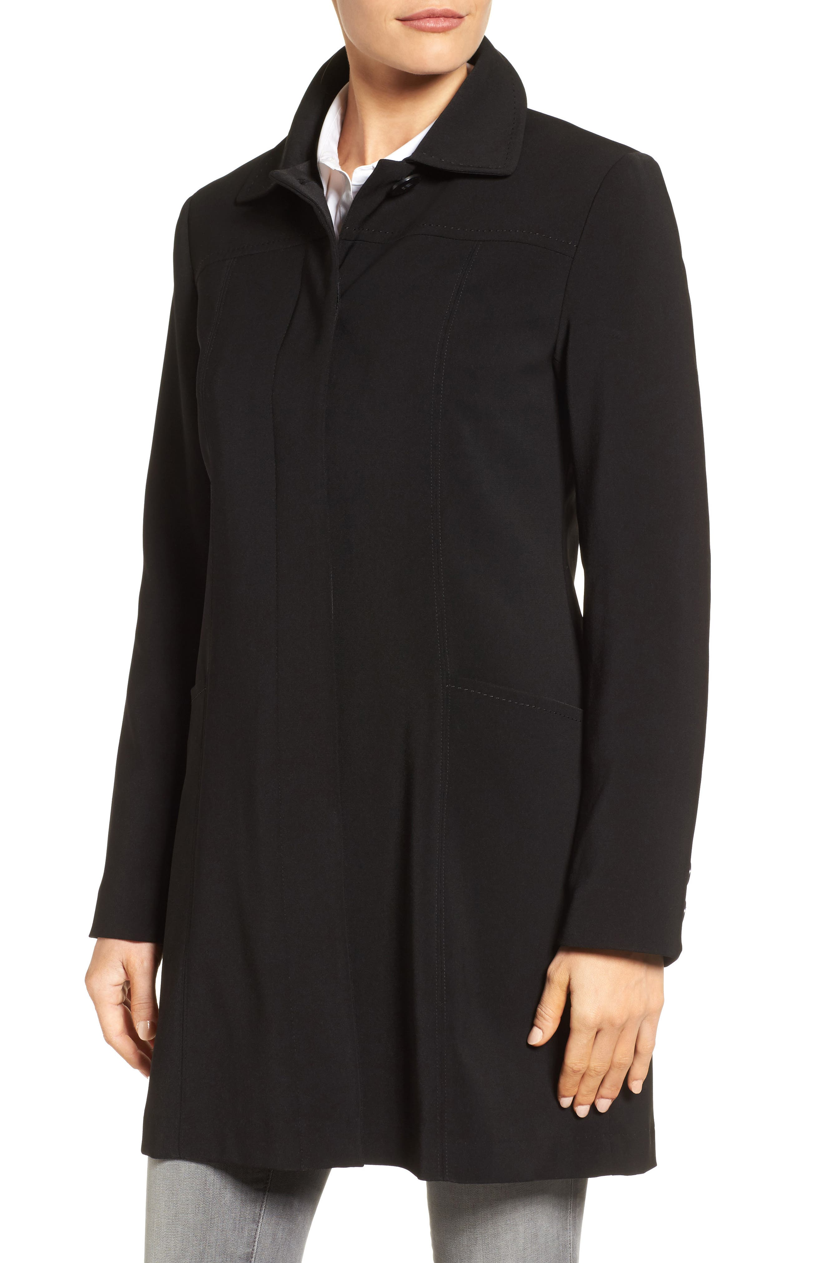 Alternate Image 4  - Gallery Pickstitch Nepage Walking Coat with Detachable Hood (Regular & Petite)