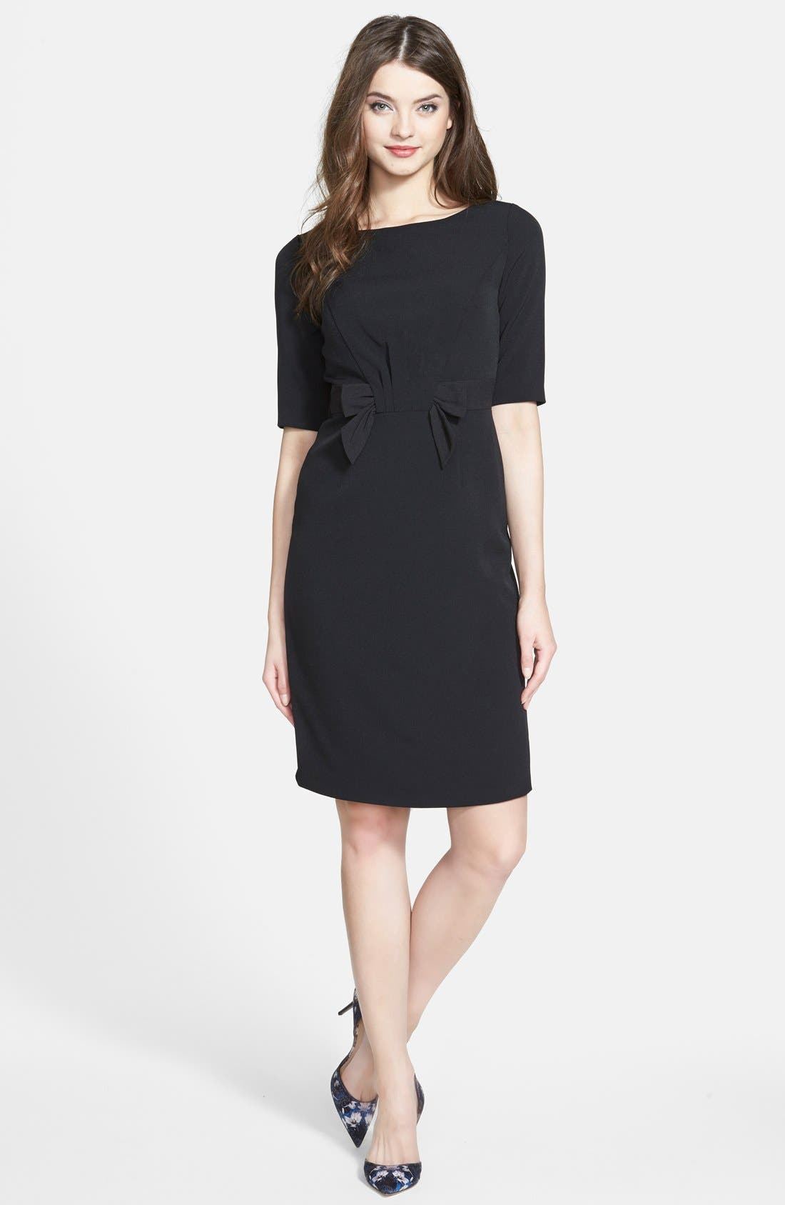 Alternate Image 1 Selected - Adrianna Papell Bow Front Crepe Sheath Dress