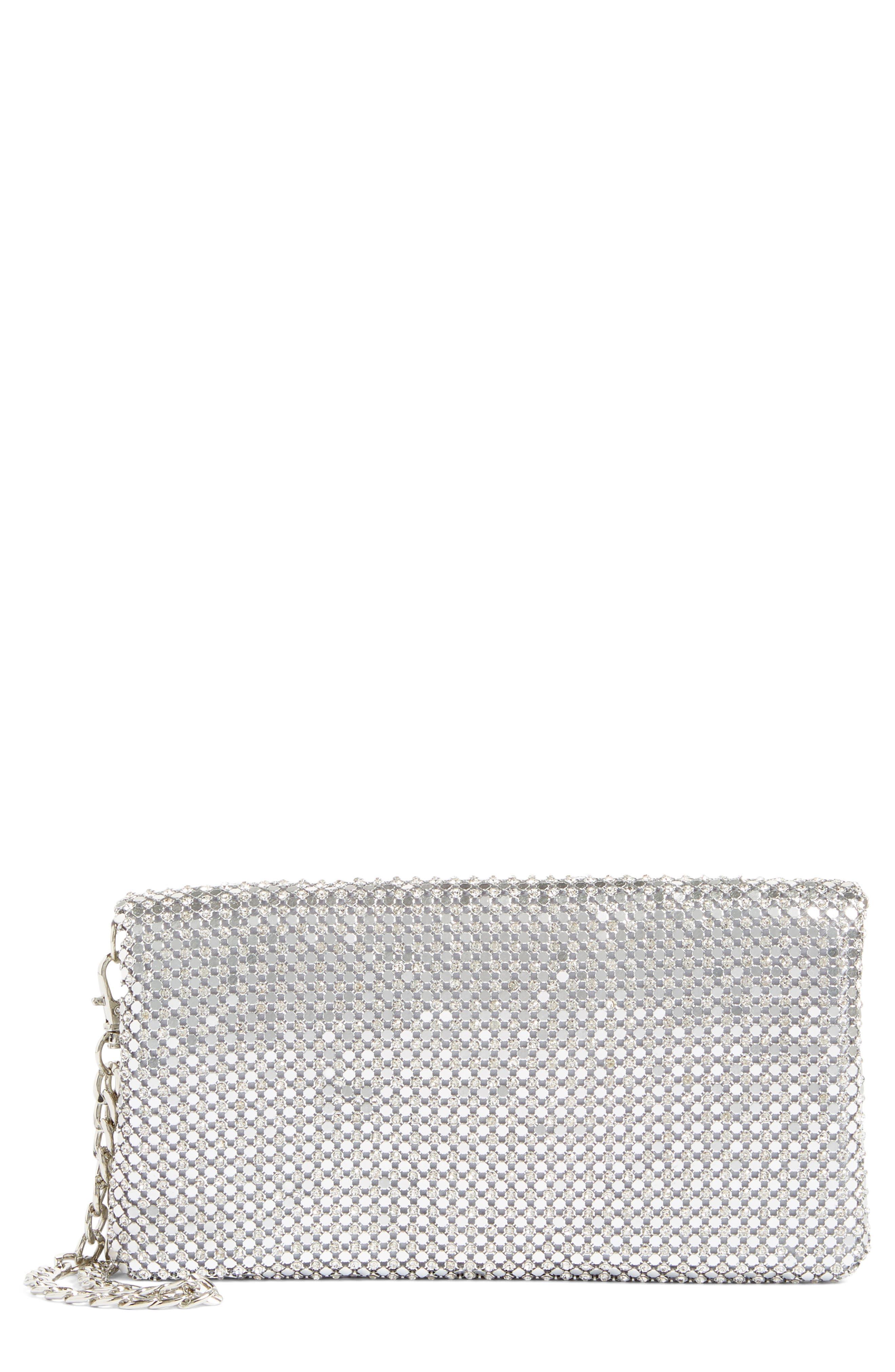 Glint Crystal Mesh Foldover Clutch