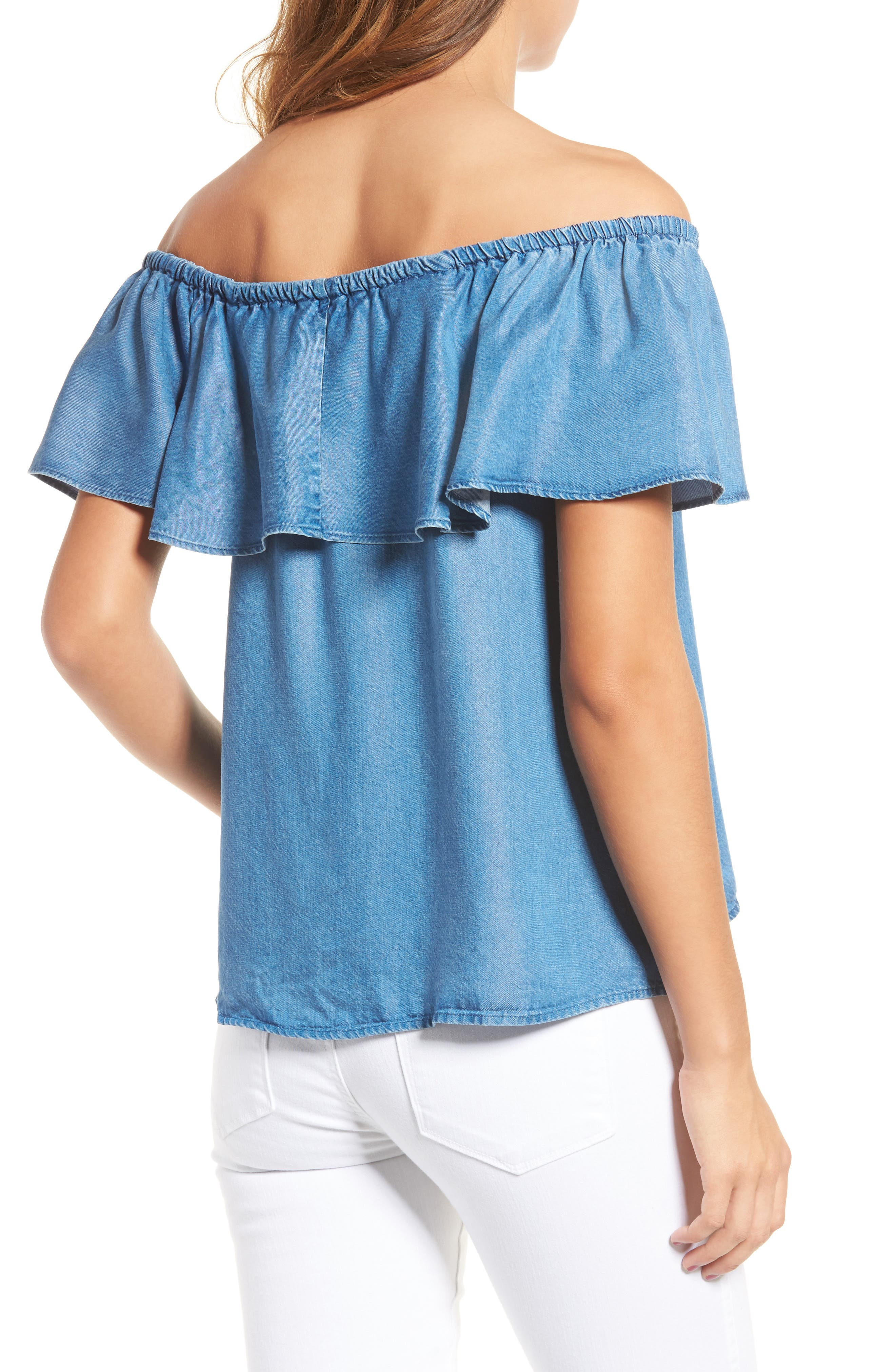 Alternate Image 2  - 7 For All Mankind® Off the Shoulder Chambray Top