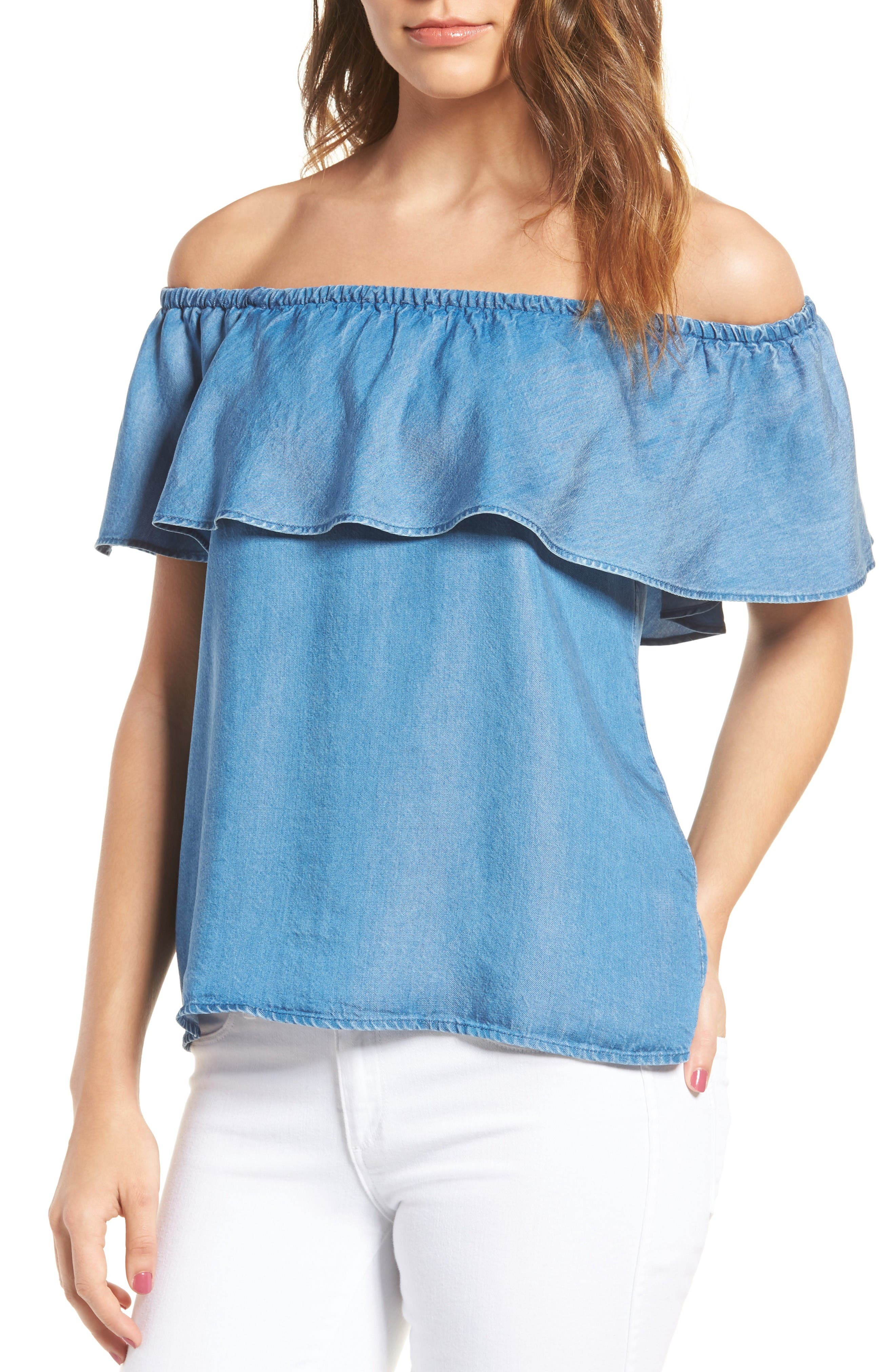 Alternate Image 1 Selected - 7 For All Mankind® Off the Shoulder Chambray Top