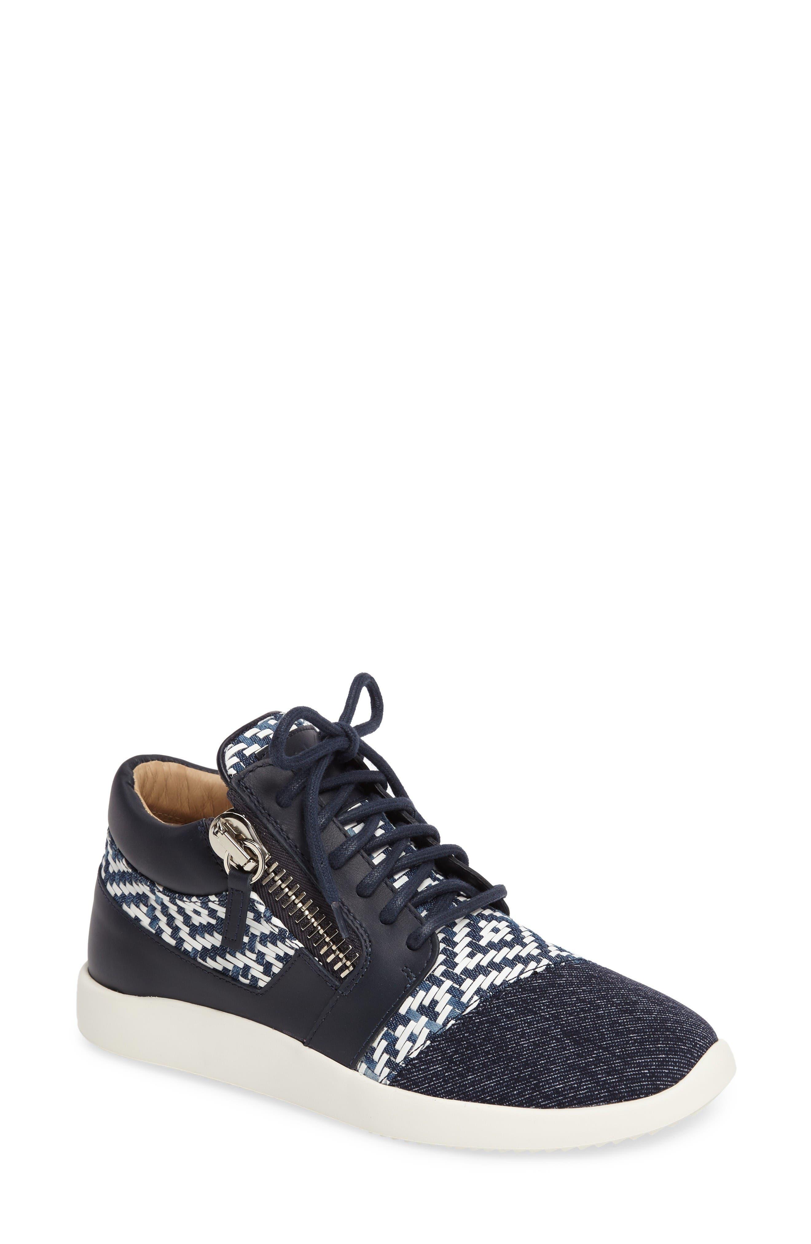 GIUSEPPE ZANOTTI Mixed Media Zip Sneaker
