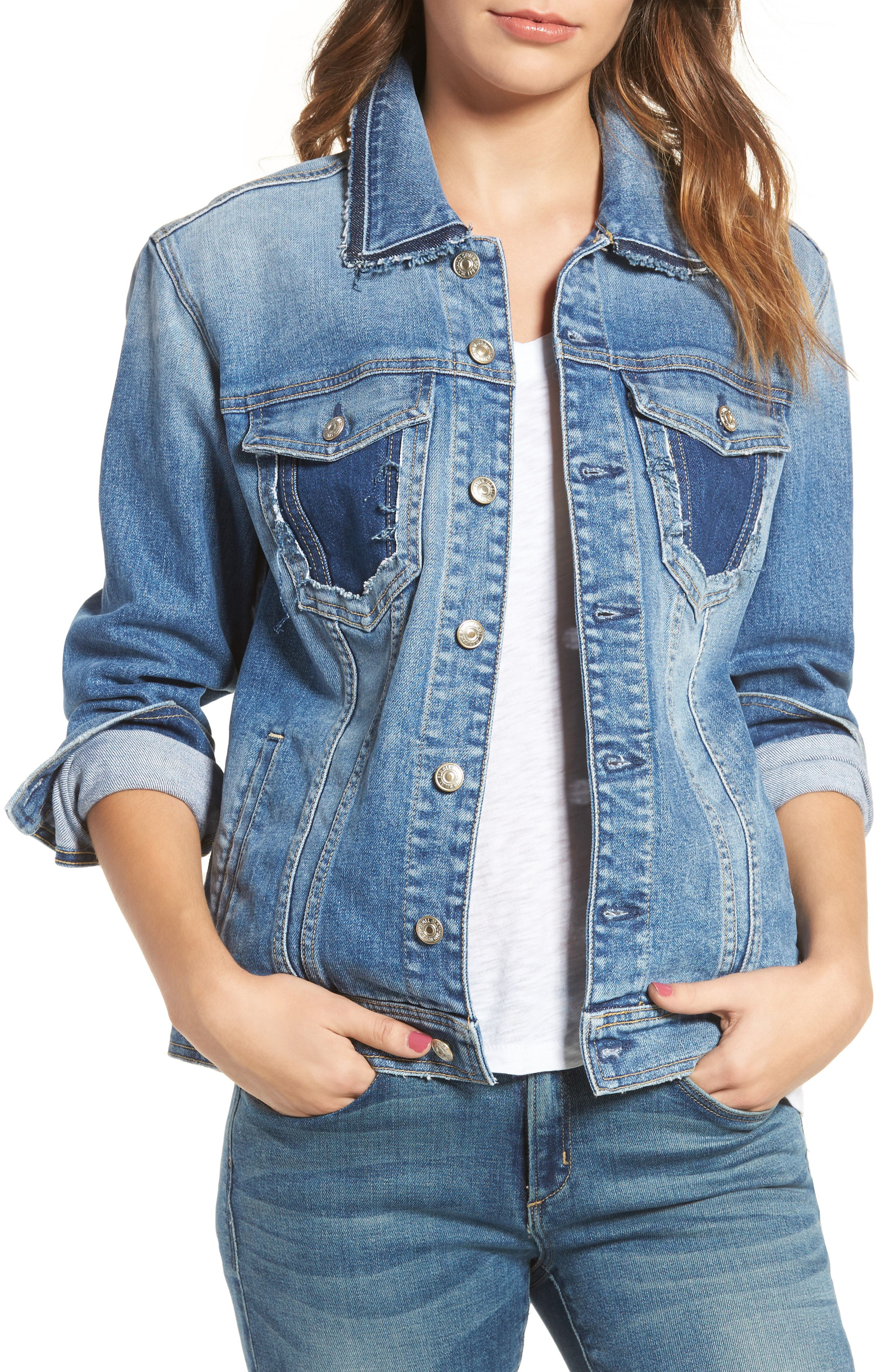 7 For All Mankind® Oversize Denim Jacket (Gold Coast Waves)