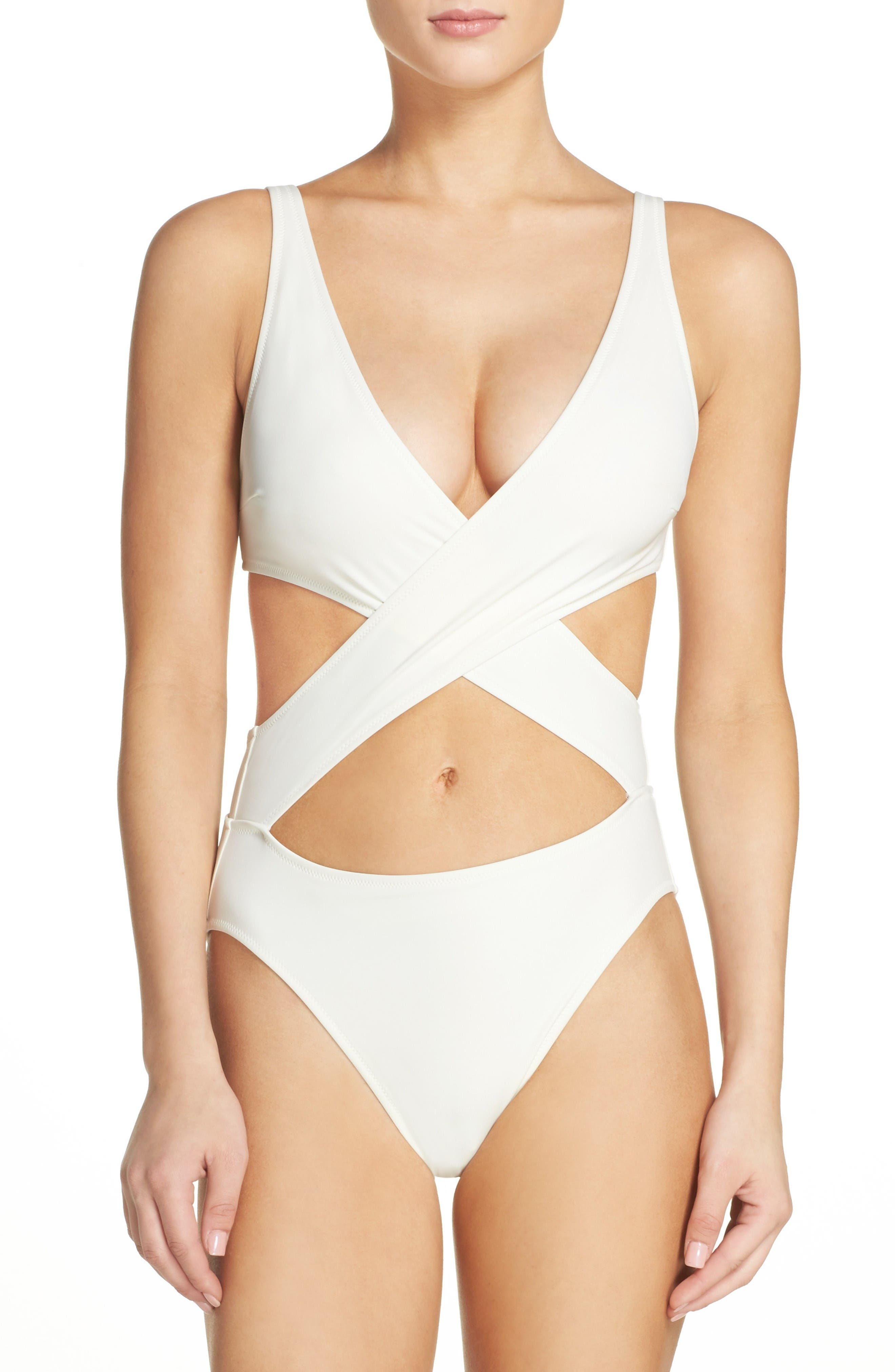 Solid & Striped Poppy Cutout One-Piece Swimsuit