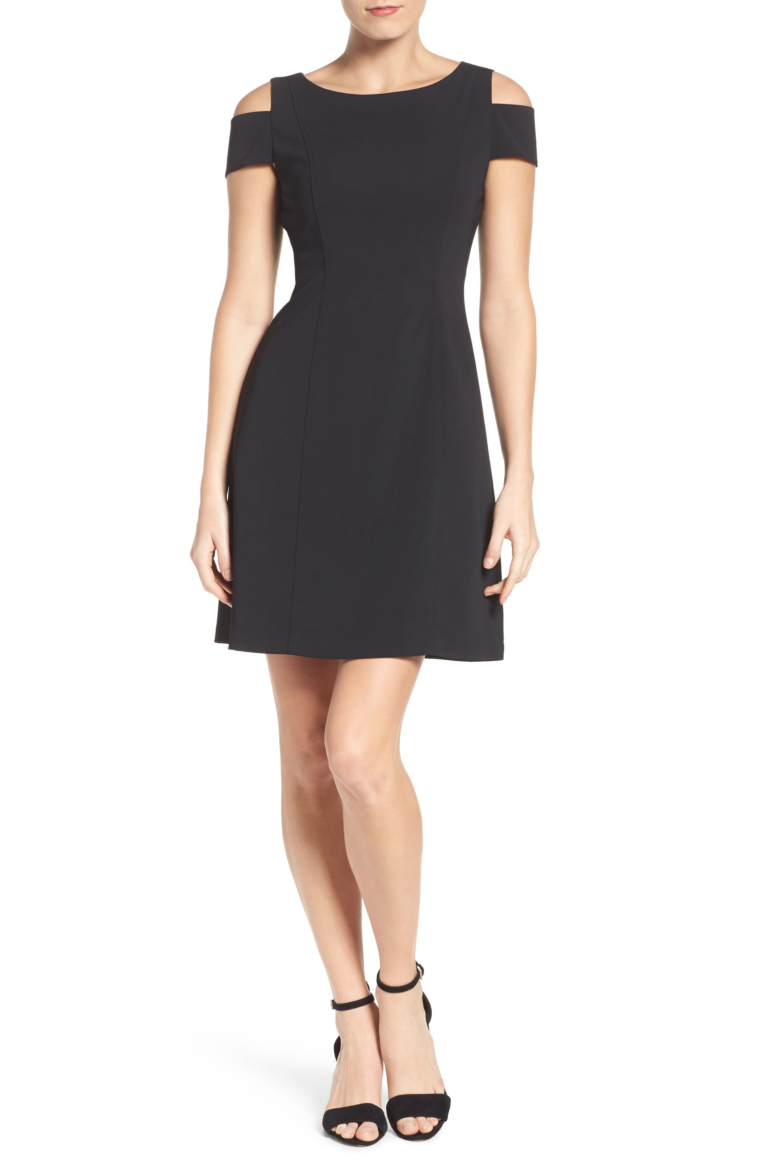 Alternate Image 4  - Adrianna Papell Cold Shoulder Stretch A-Line Dress