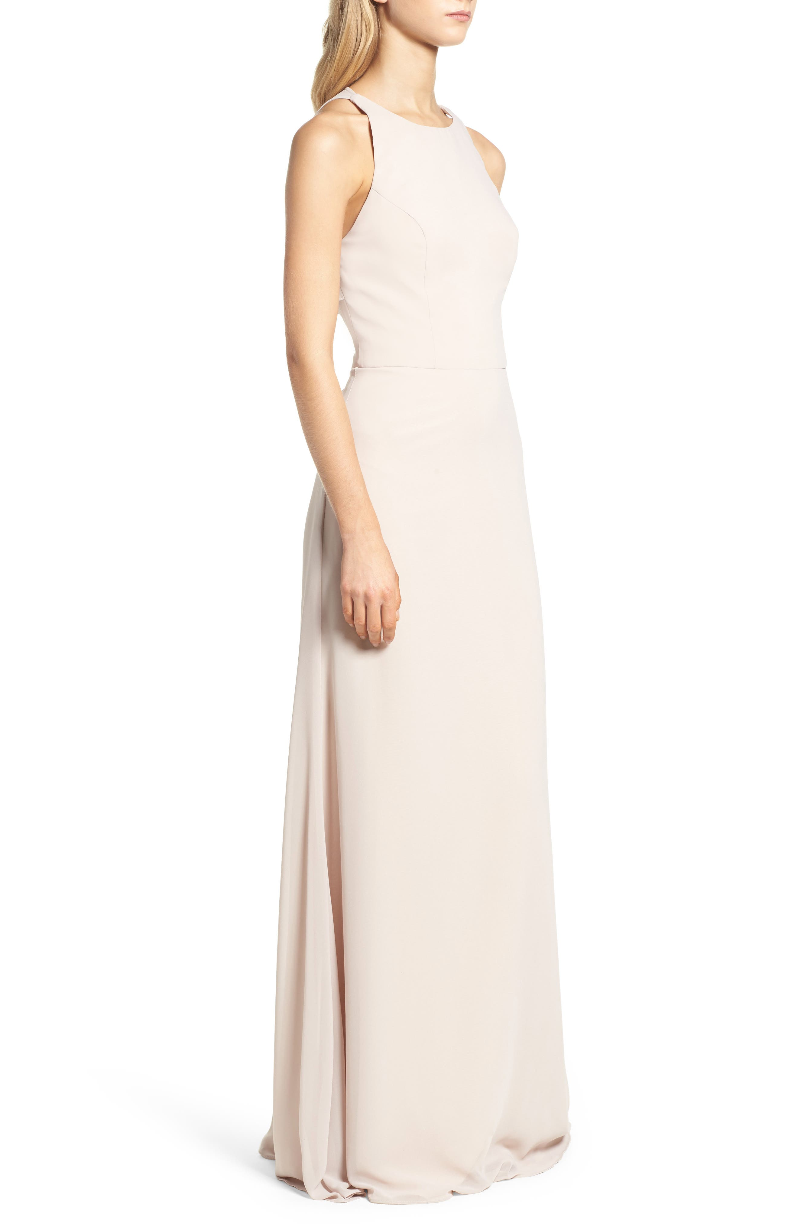 Alternate Image 3  - Hayley Paige Occasions Crewneck Chiffon Gown