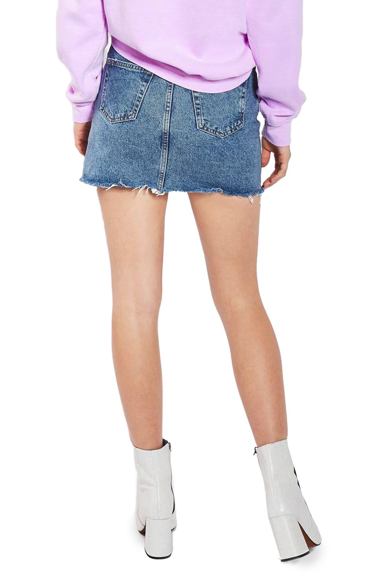 Alternate Image 3  - Topshop Moto Splatter Paint Denim Miniskirt