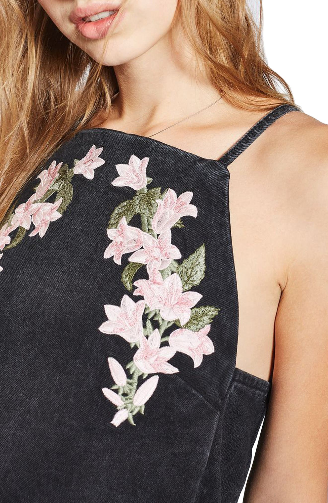 Alternate Image 4  - Topshop Tulip Embroidered Pinafore Dress