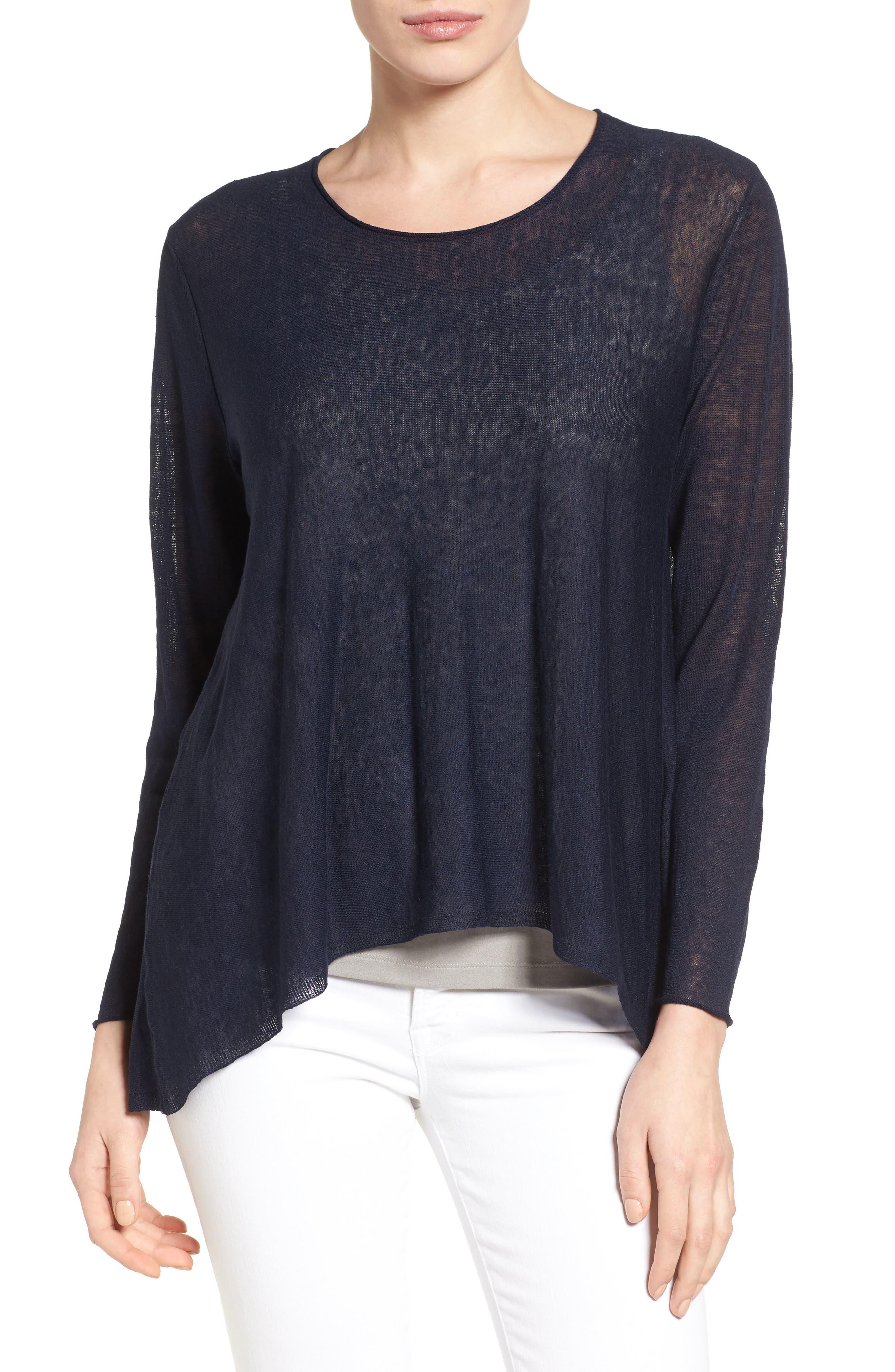 Eileen Fisher Organic Linen Blend Swing Sweater (Regular & Petite)
