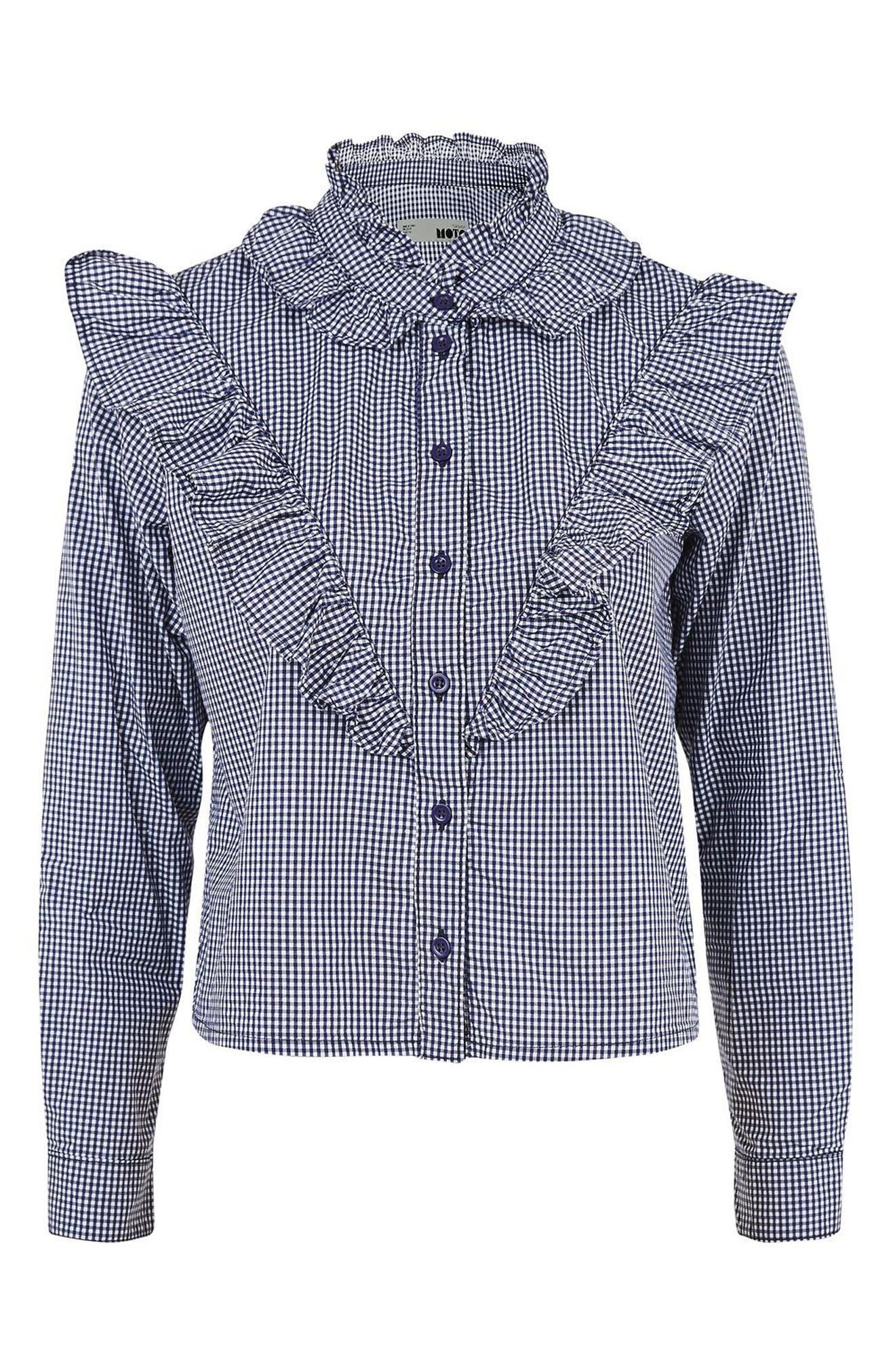 Alternate Image 4  - Topshop Moto Ruffle Gingham Shirt