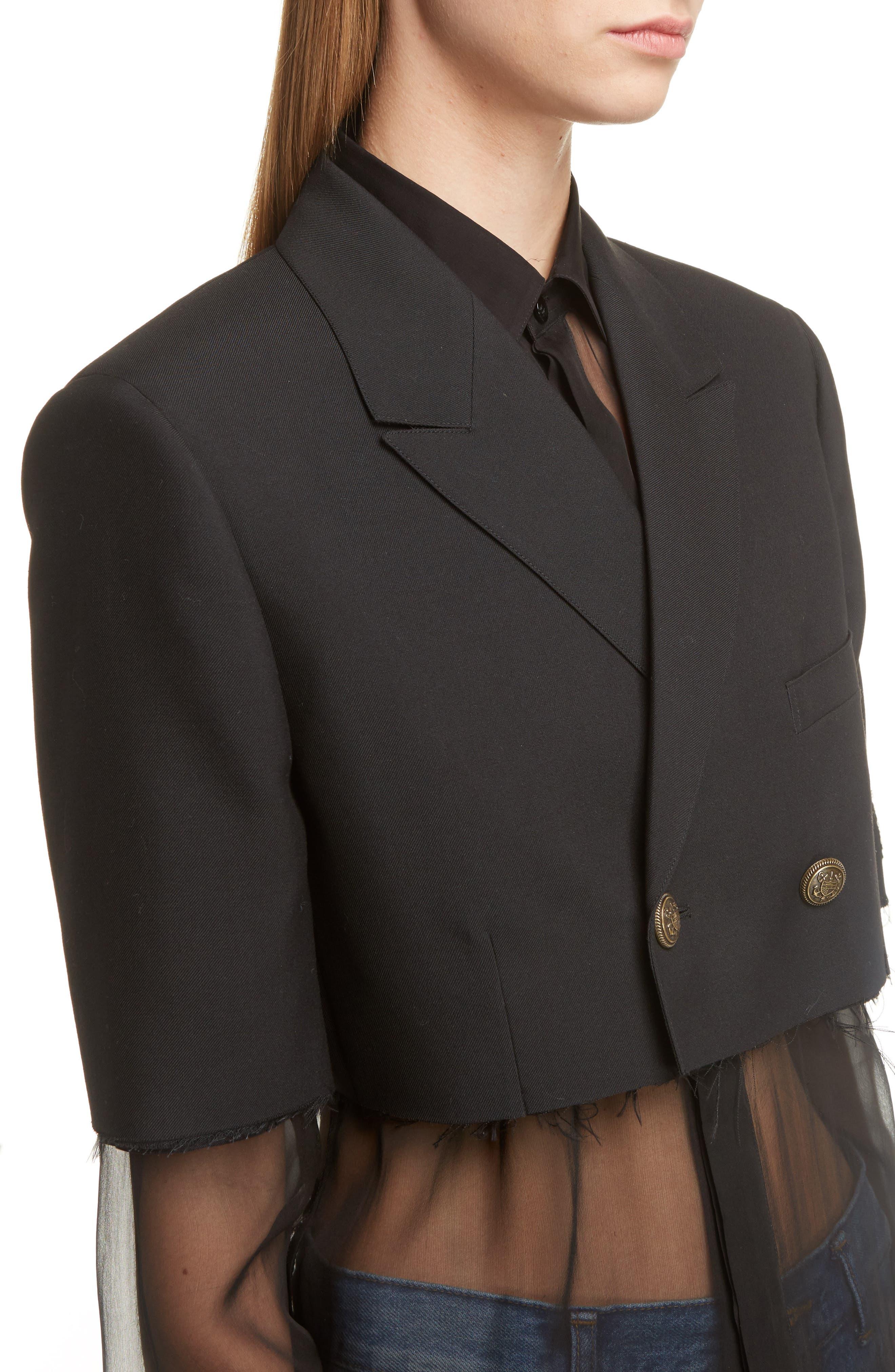 Alternate Image 5  - Saint Laurent Wool Crop Officer Jacket