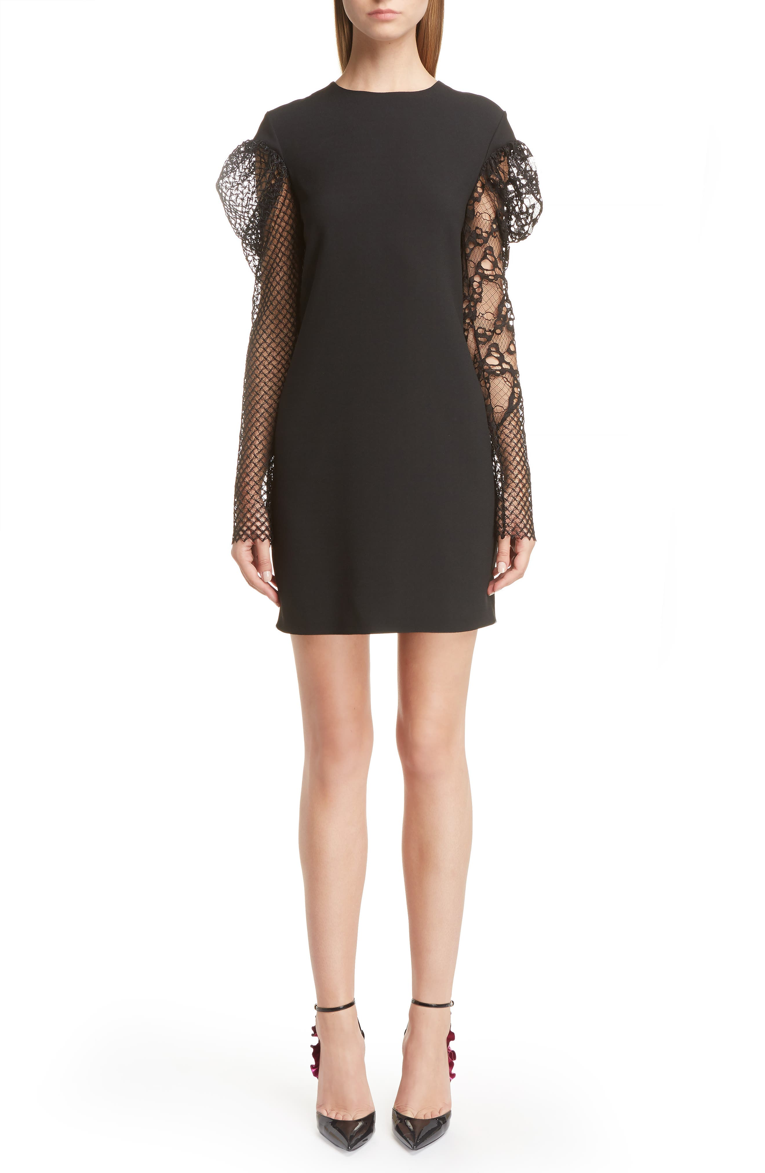 Main Image - Saint Laurent Lace Balloon Sleeve Dress