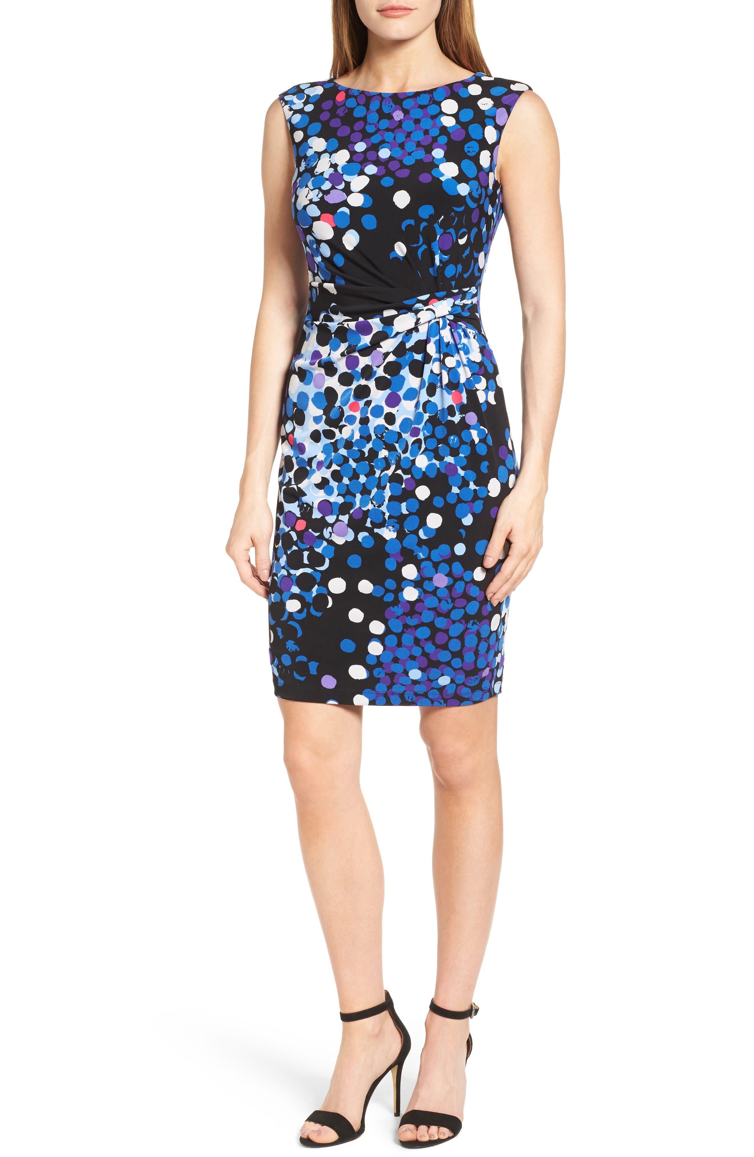 Anne Klein Side Twist Jersey Sheath Dress