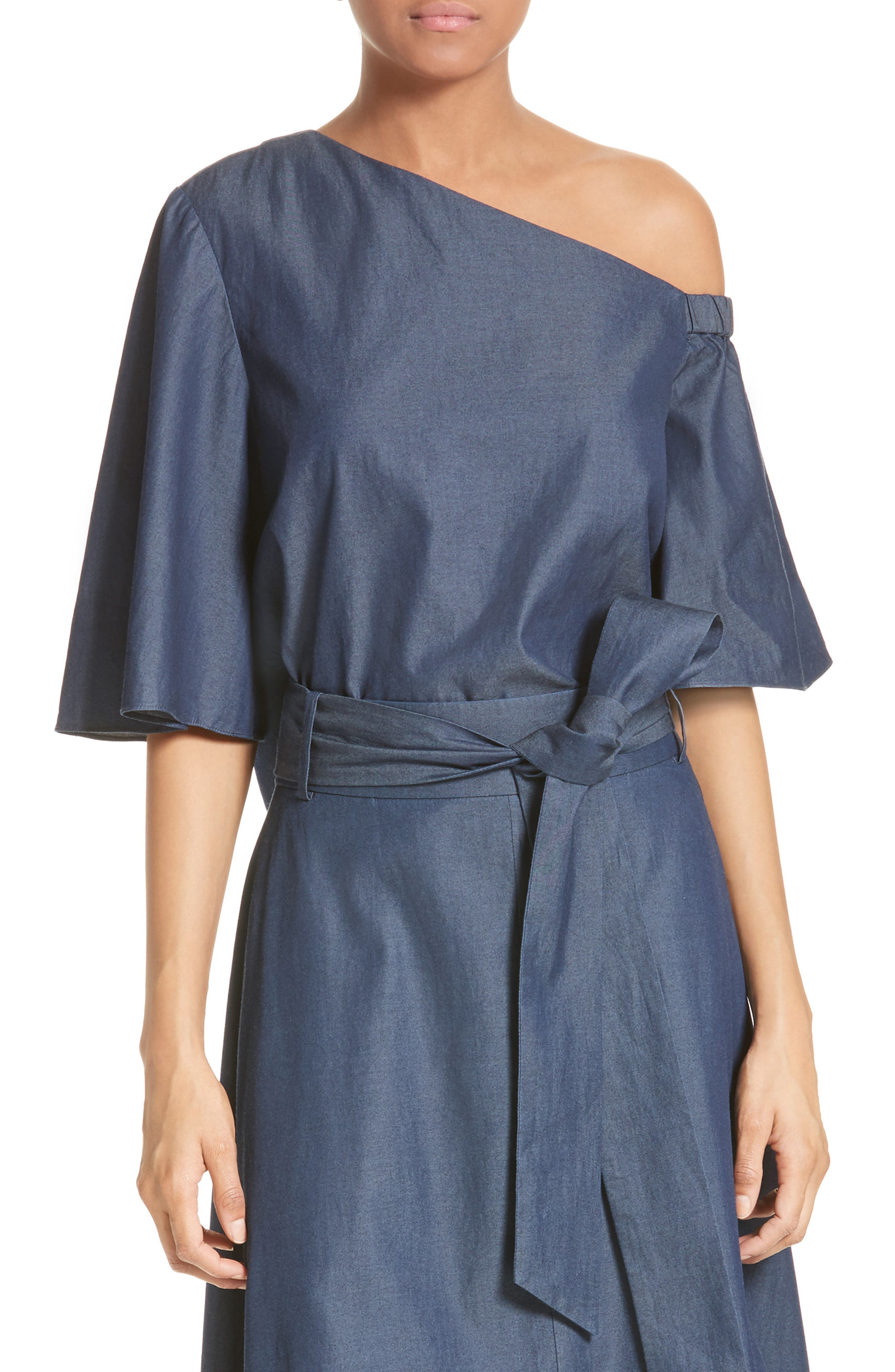 Main Image - Tibi Bell Sleeve One-Shoulder Top