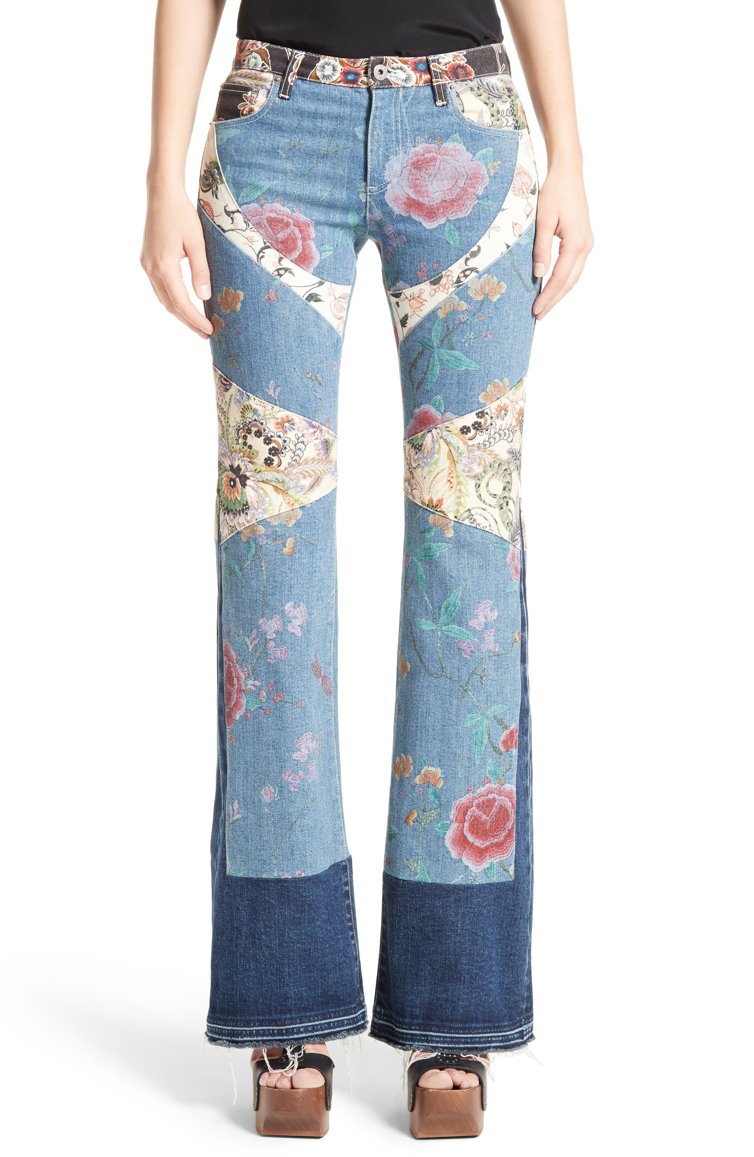 Alternate Image 1 Selected - Roberto Cavalli Patchwork Denim Flare Jeans