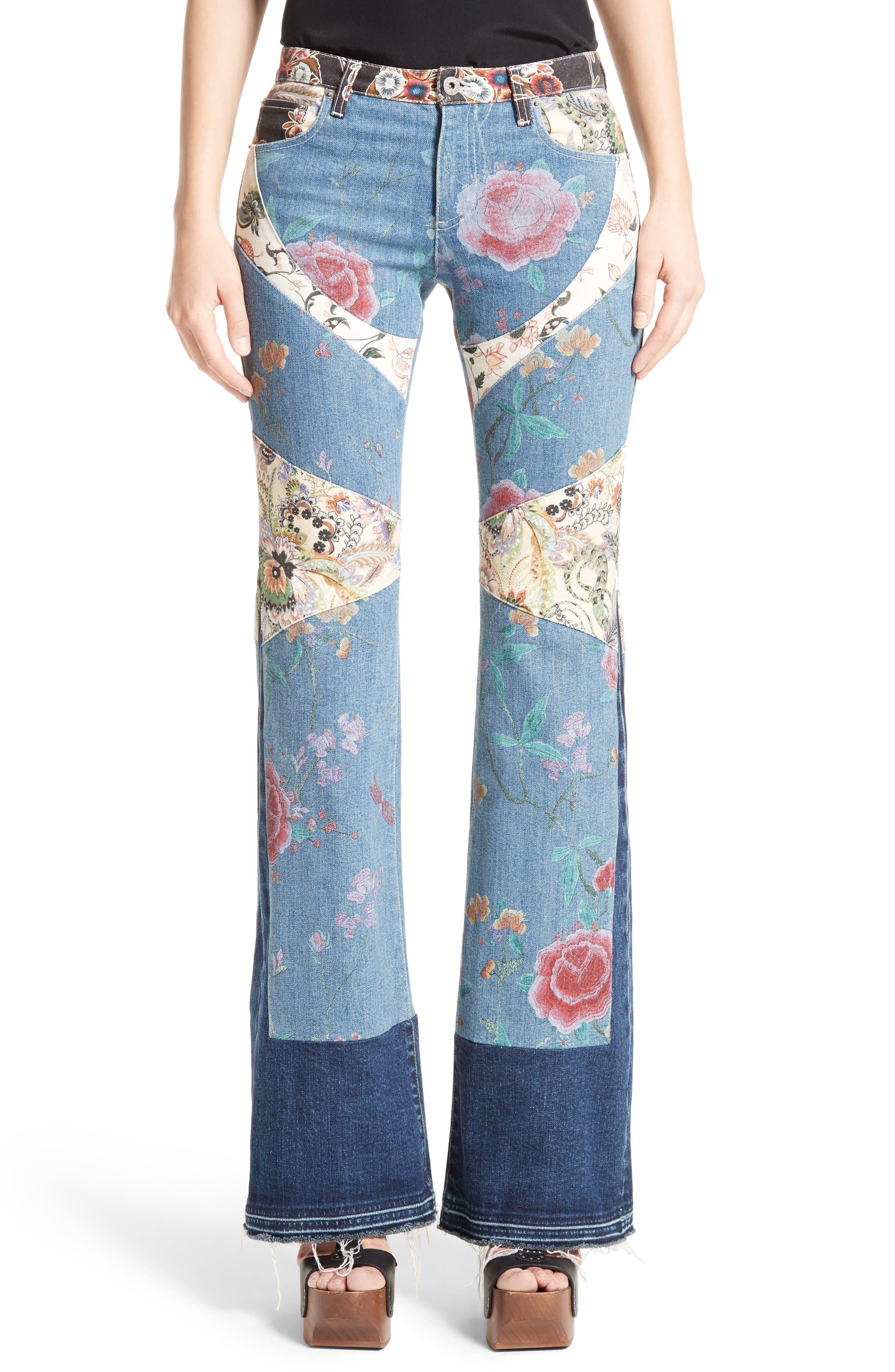 Main Image - Roberto Cavalli Patchwork Denim Flare Jeans