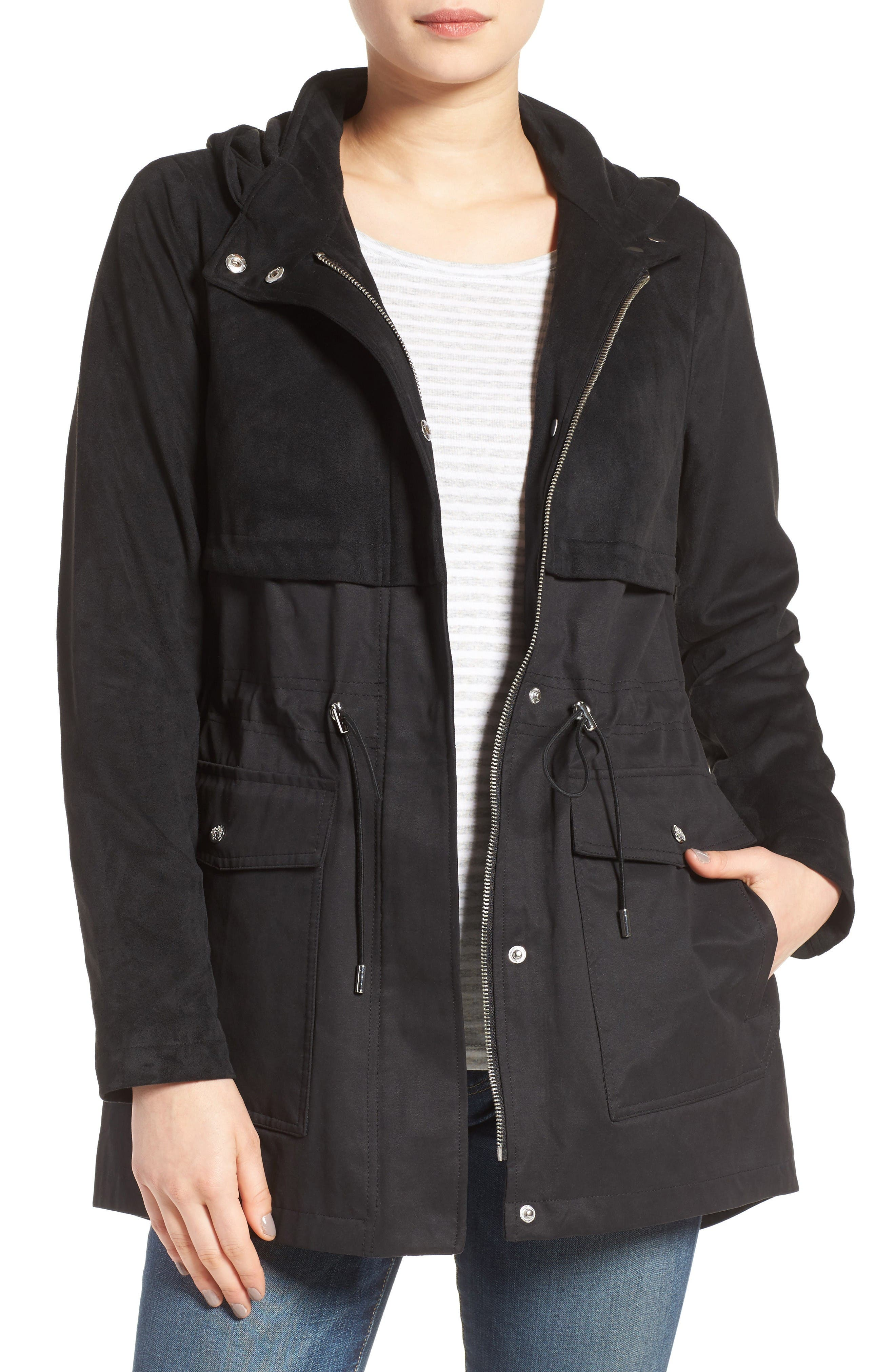 Vince Camuto Mixed Media Hooded Jacket