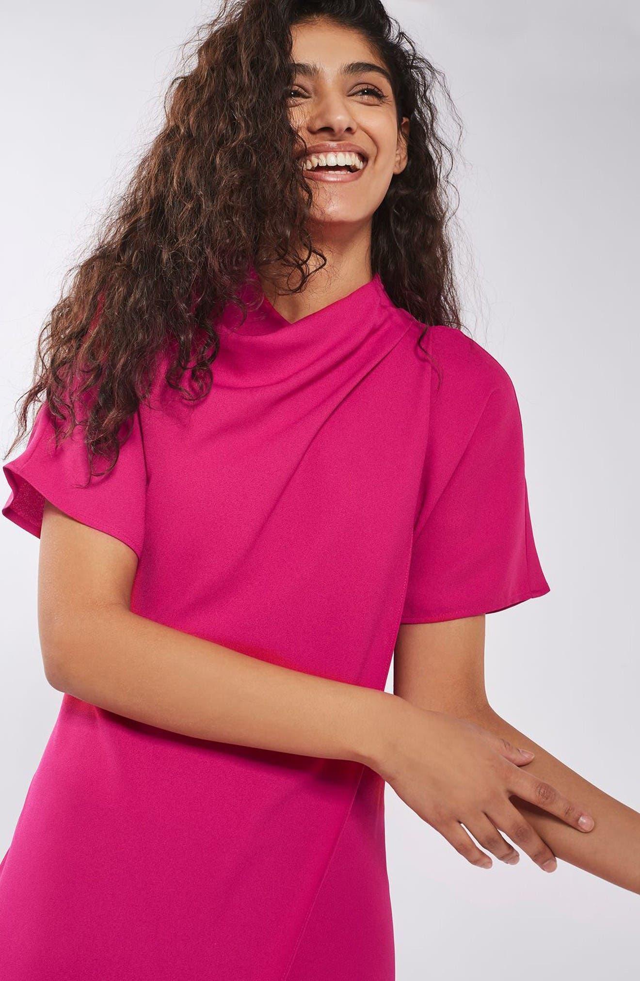 Alternate Image 2  - Topshop Origami Drape Neck Midi Dress