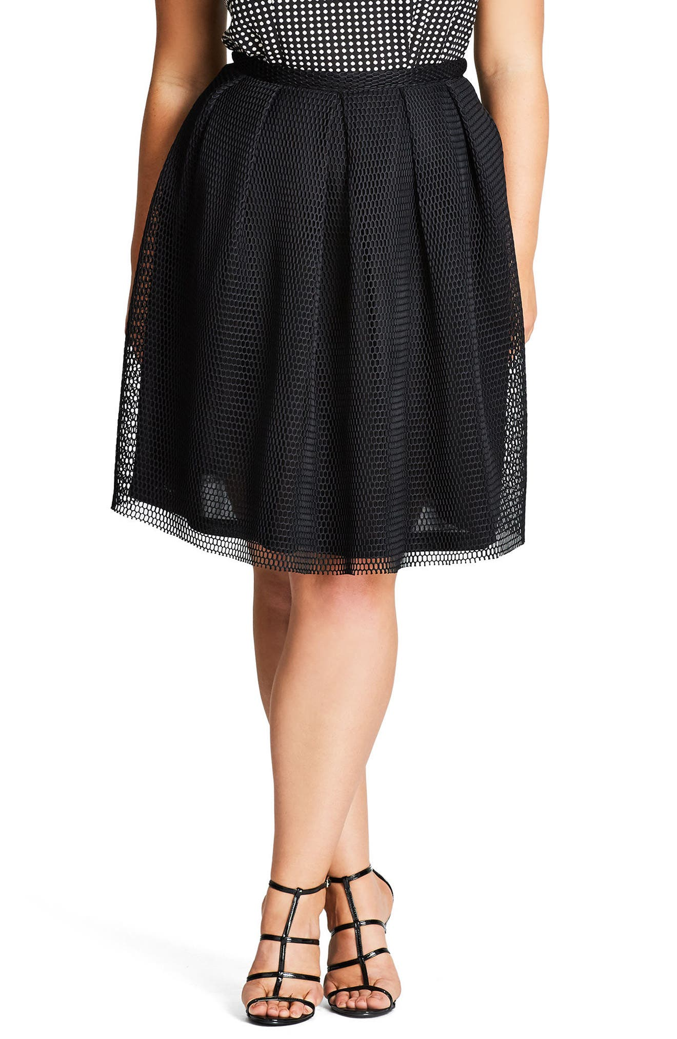 City Chic Love Me Pleat Mesh Skirt (Plus Size)