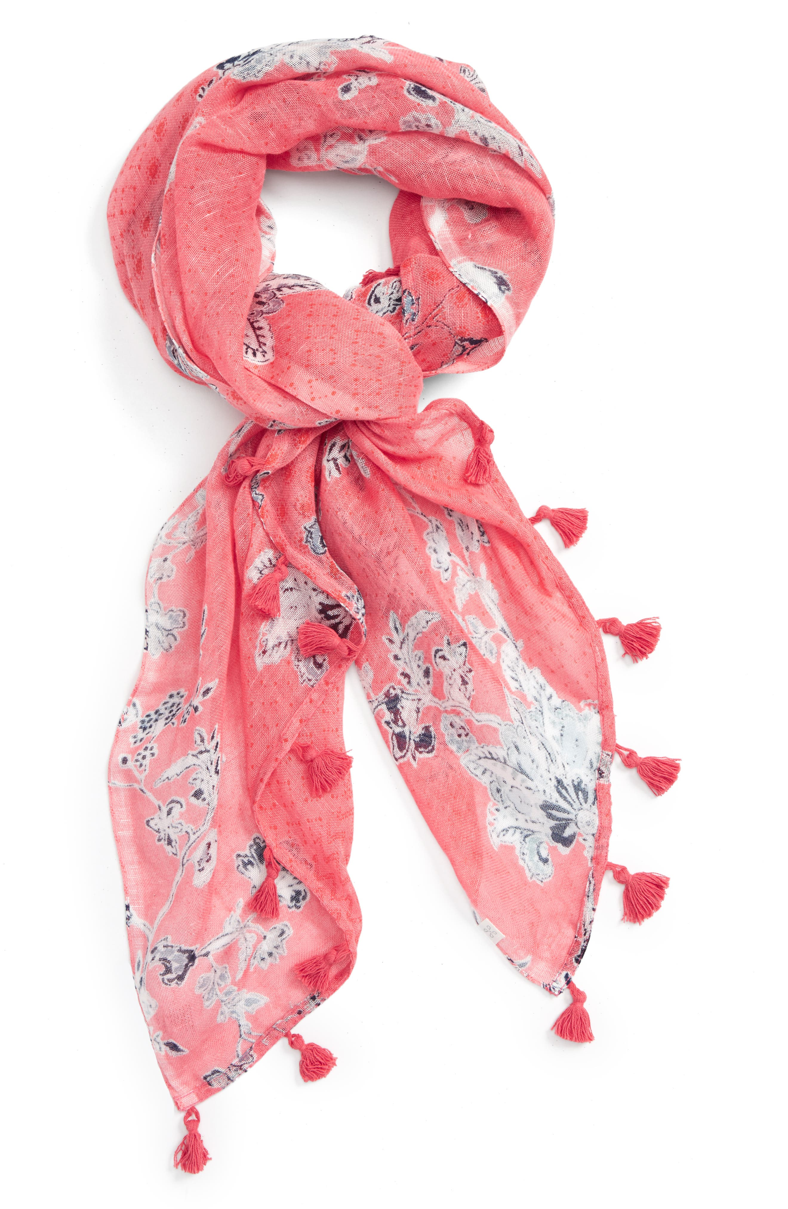 Main Image - Caslon® Floral Tides Tassel Scarf