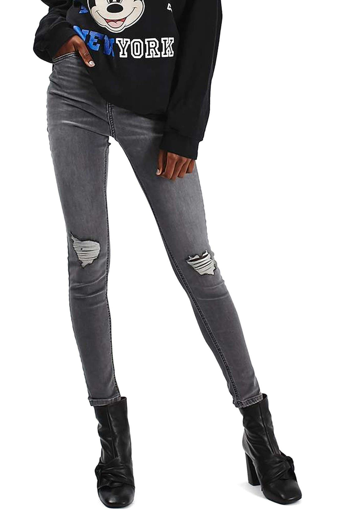TOPSHOP 'Jamie' Ripped Ankle Skinny Jeans