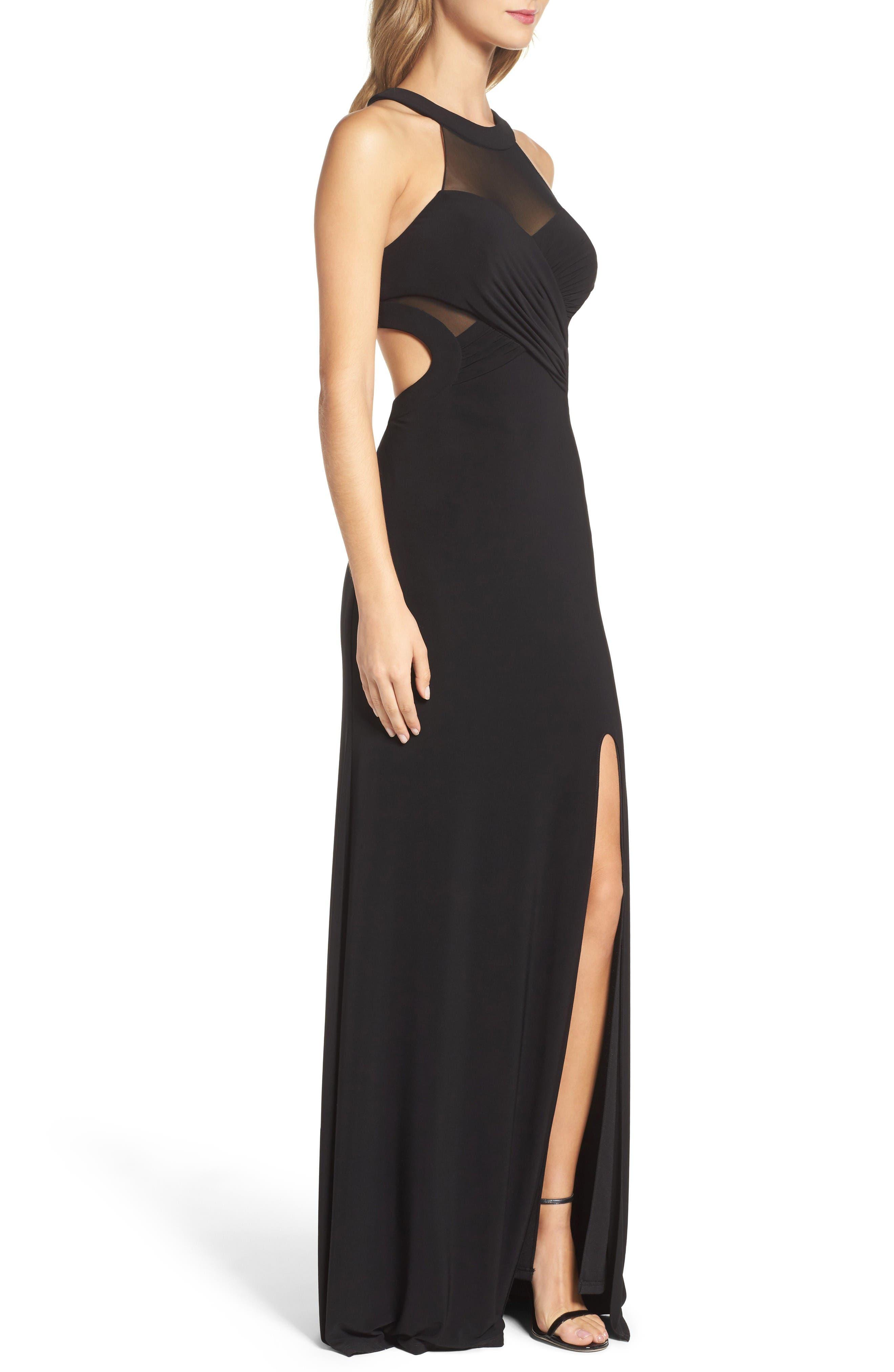 Alternate Image 3  - Xscape Mesh & Jersey Gown (Regular & Petite)