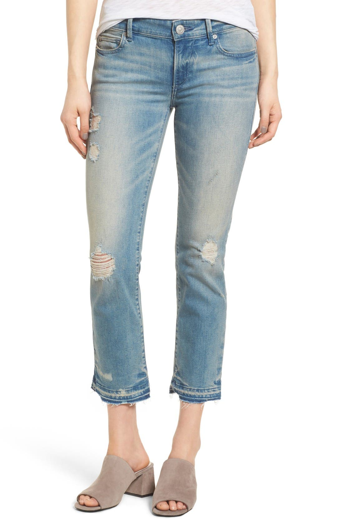 True Religion Brand Jeans Cora Crop Straight Leg Jeans (Blue Dream Destroyed)