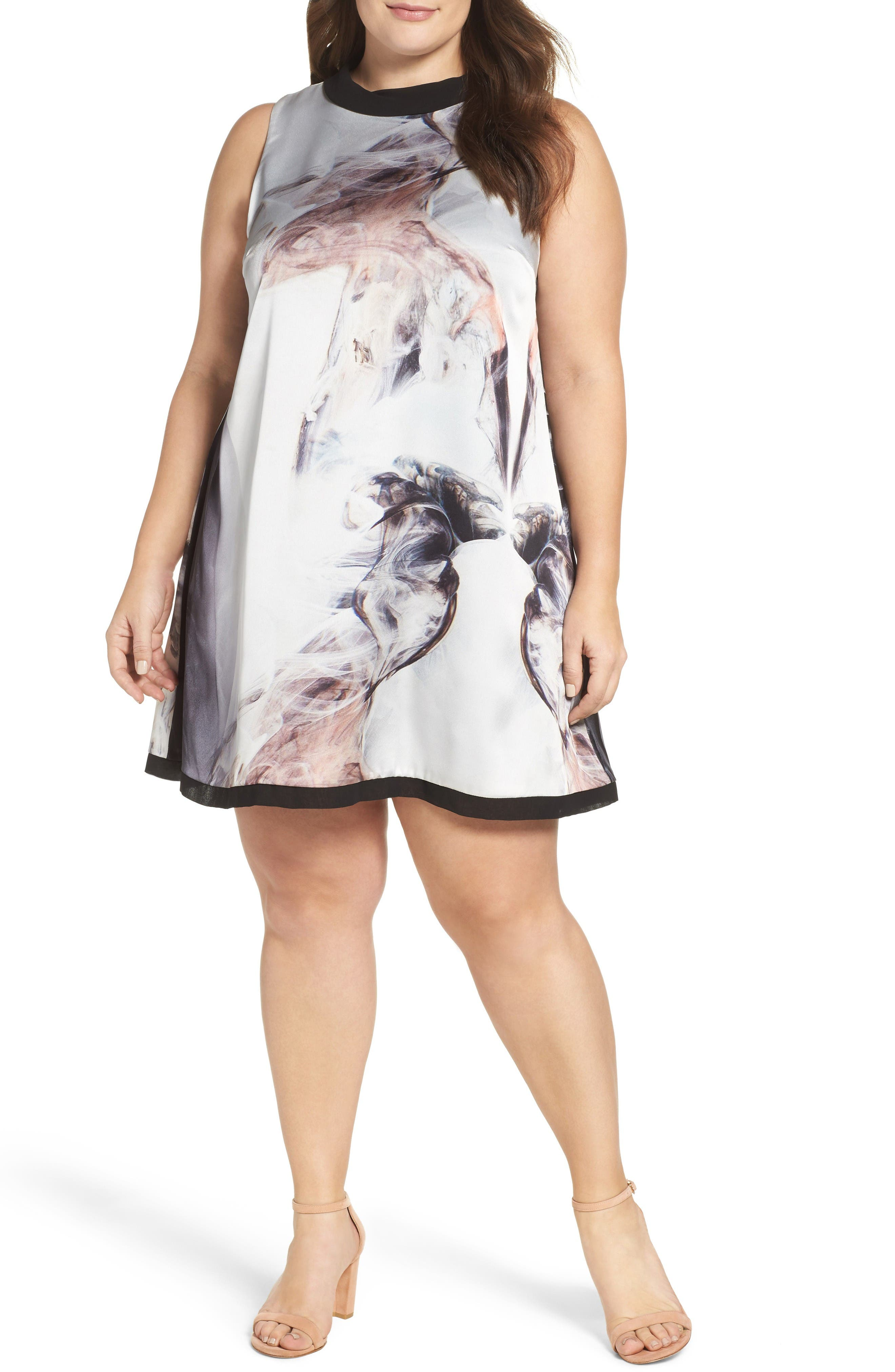 ELVI Print Trapeze Dress