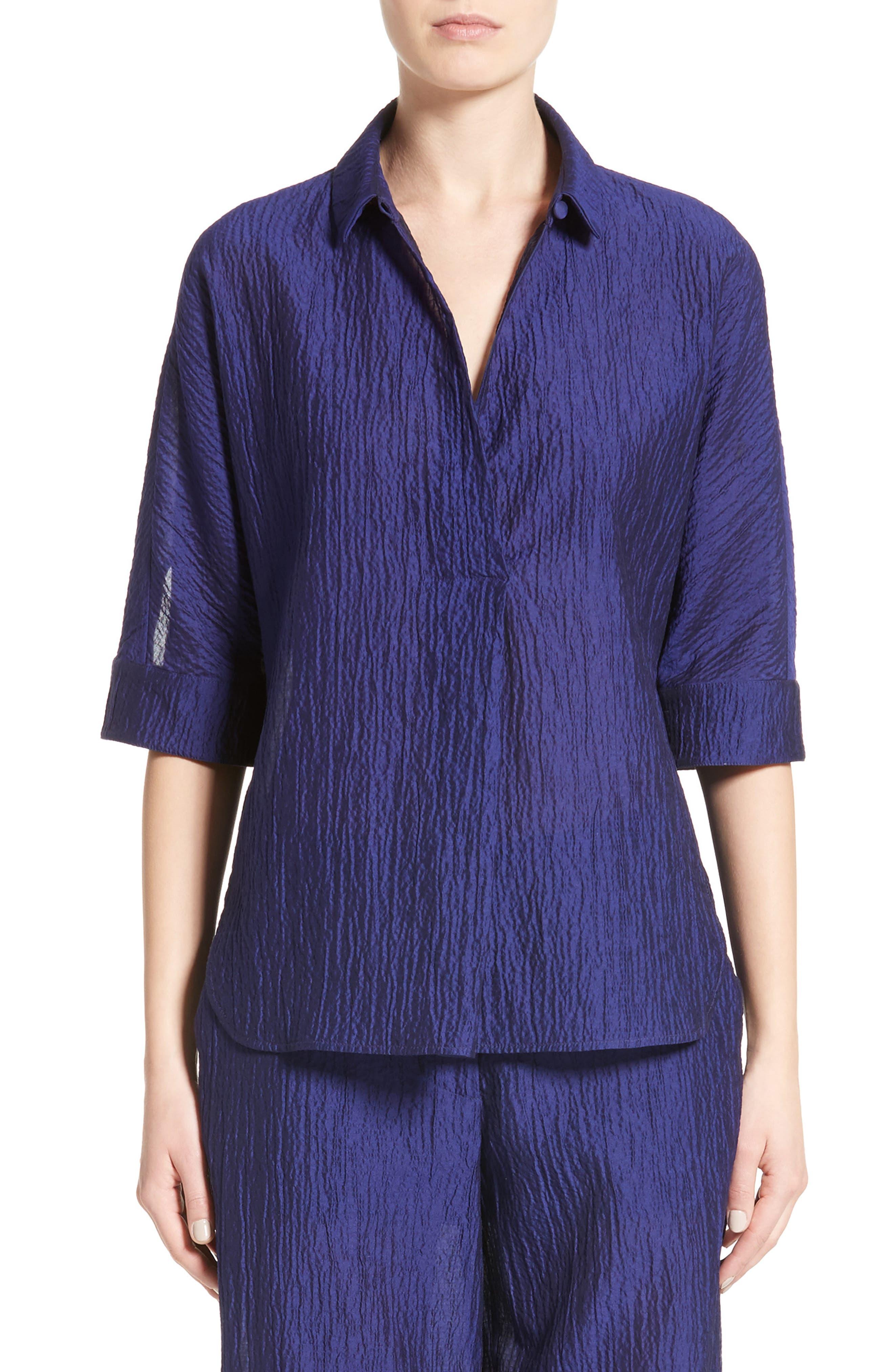 Armani Collezioni Crinkle Cotton & Silk Blend Tunic