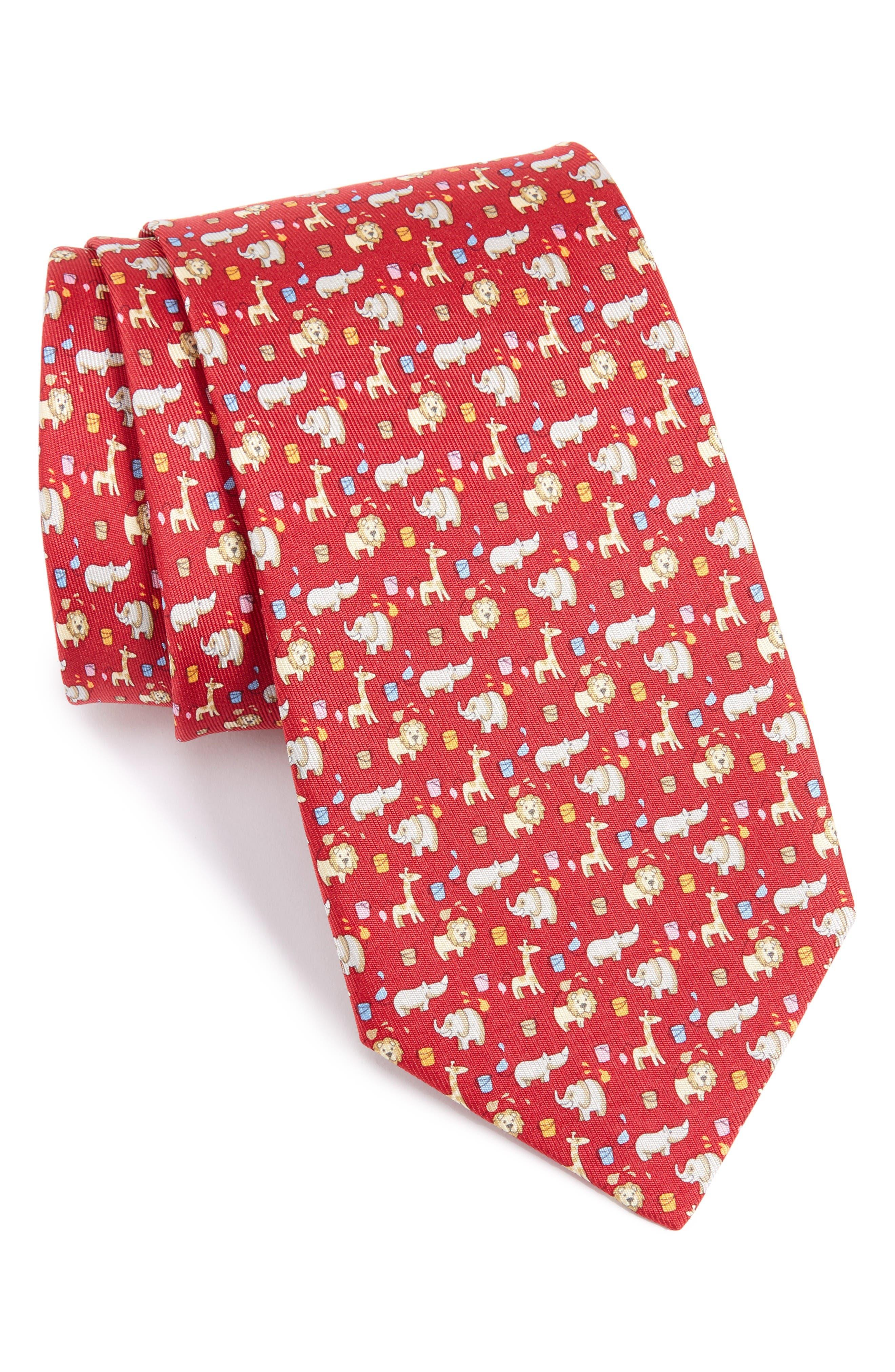 SALVATORE FERRAGAMO Circus Animals Woven Silk Tie