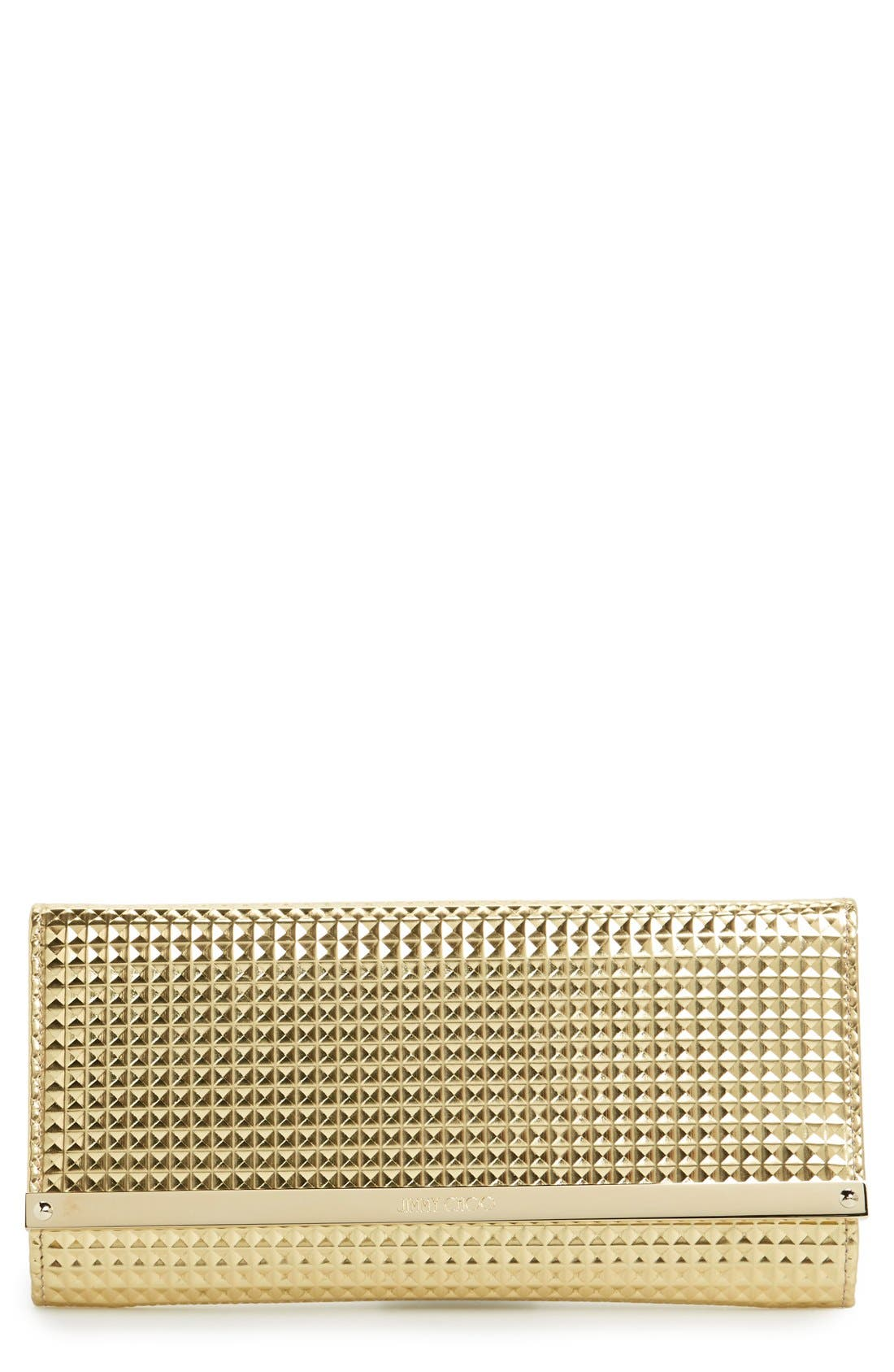 Alternate Image 1 Selected - Jimmy Choo 'Milla' Pyramid Embossed Metallic Leather Flap Clutch