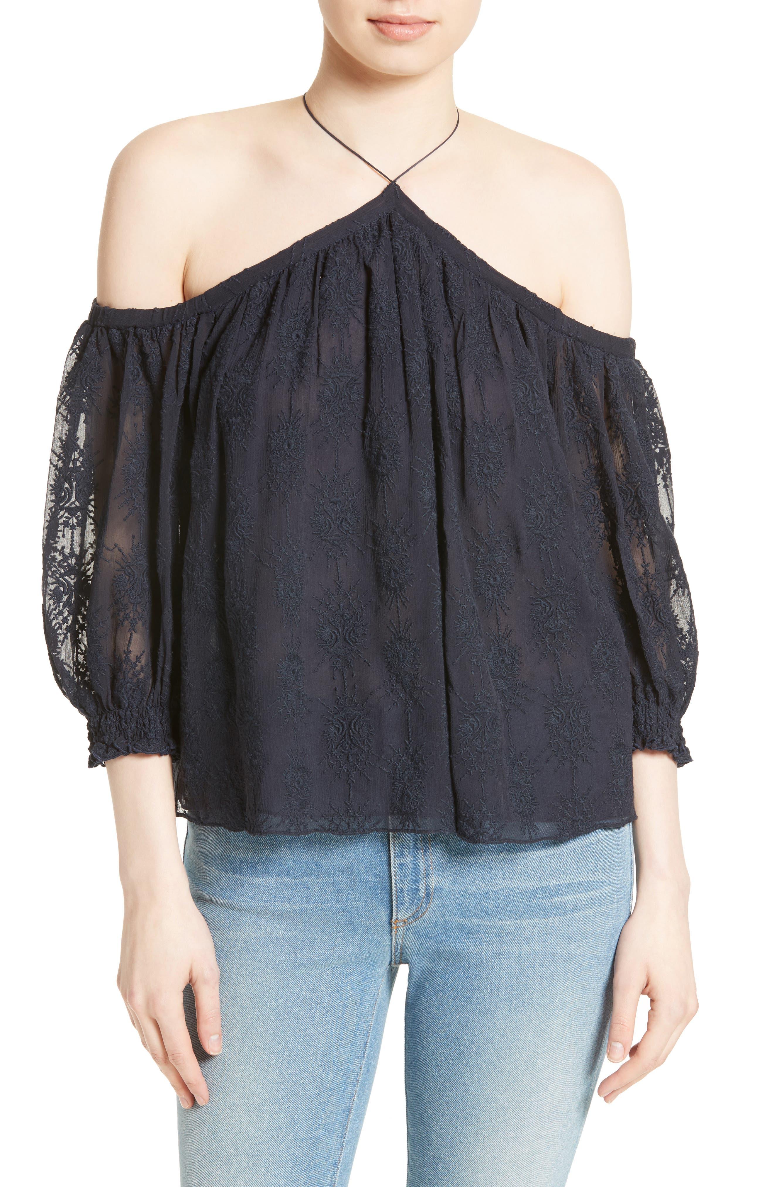 Alternate Image 1 Selected - Rebecca Taylor Cold Shoulder Silk Blouse