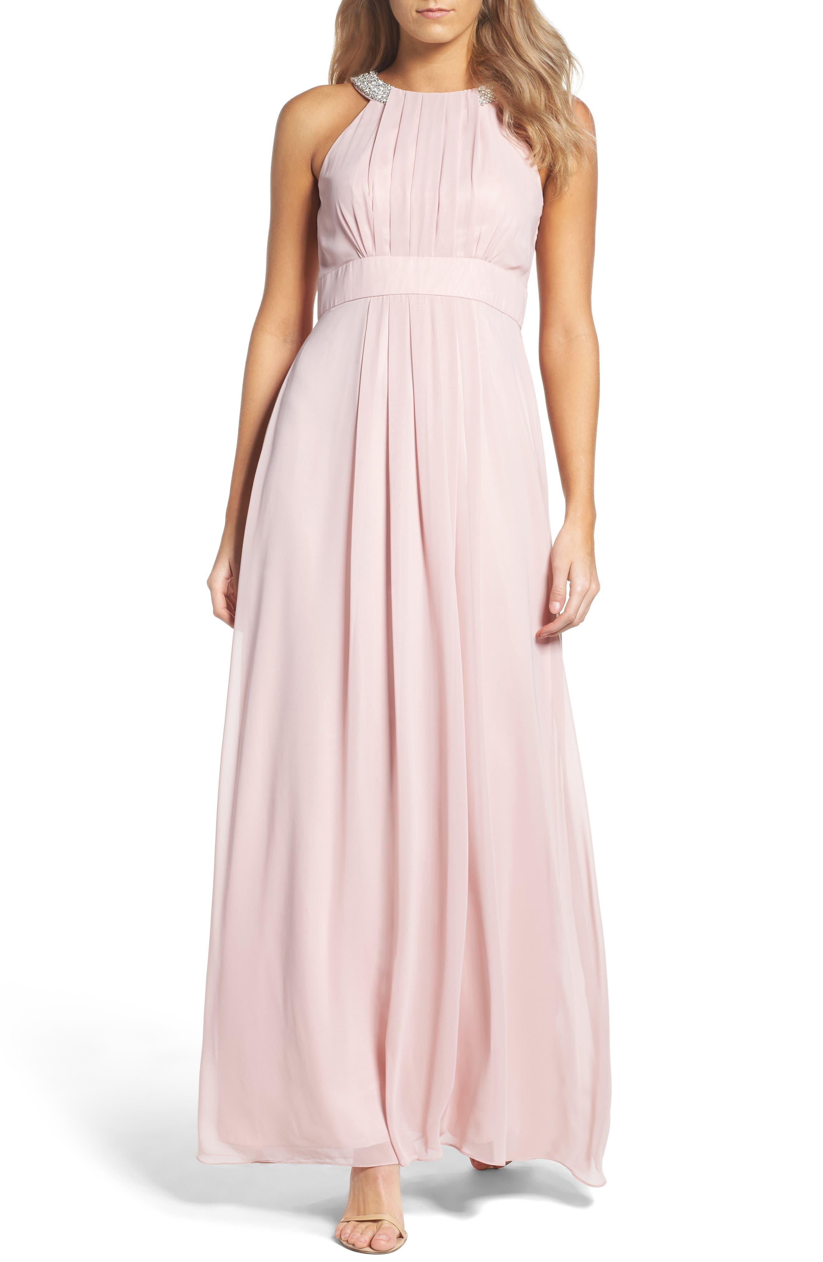 Eliza J Embellished Chiffon Gown (Regular & Petite)
