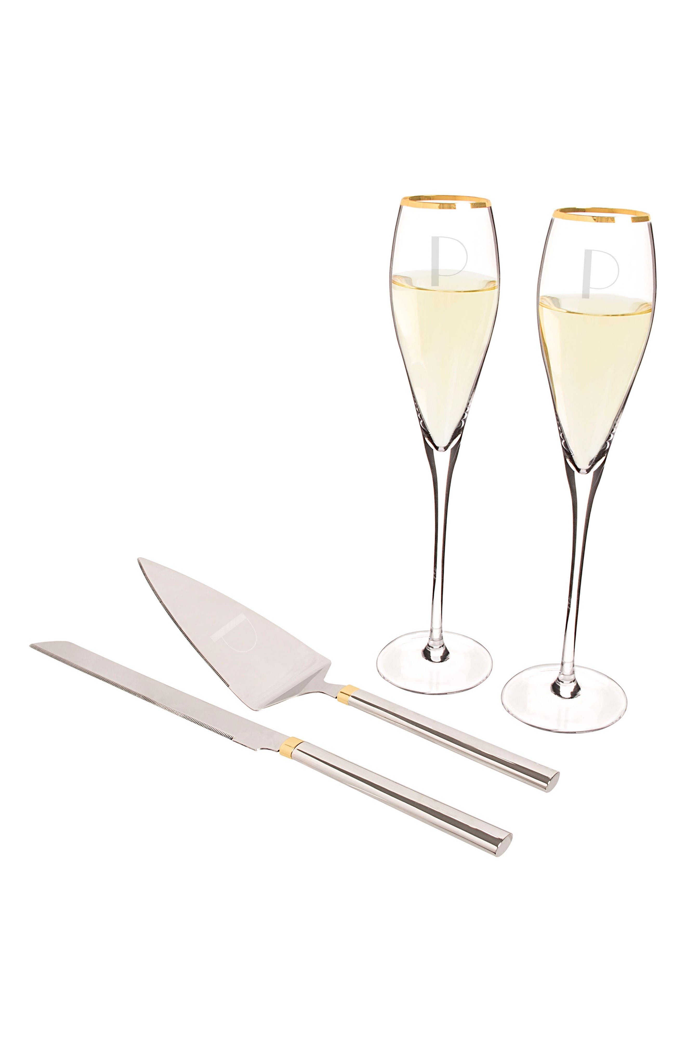 Cathy's Concepts Monogram Champagne Flutes & Cake Server Set