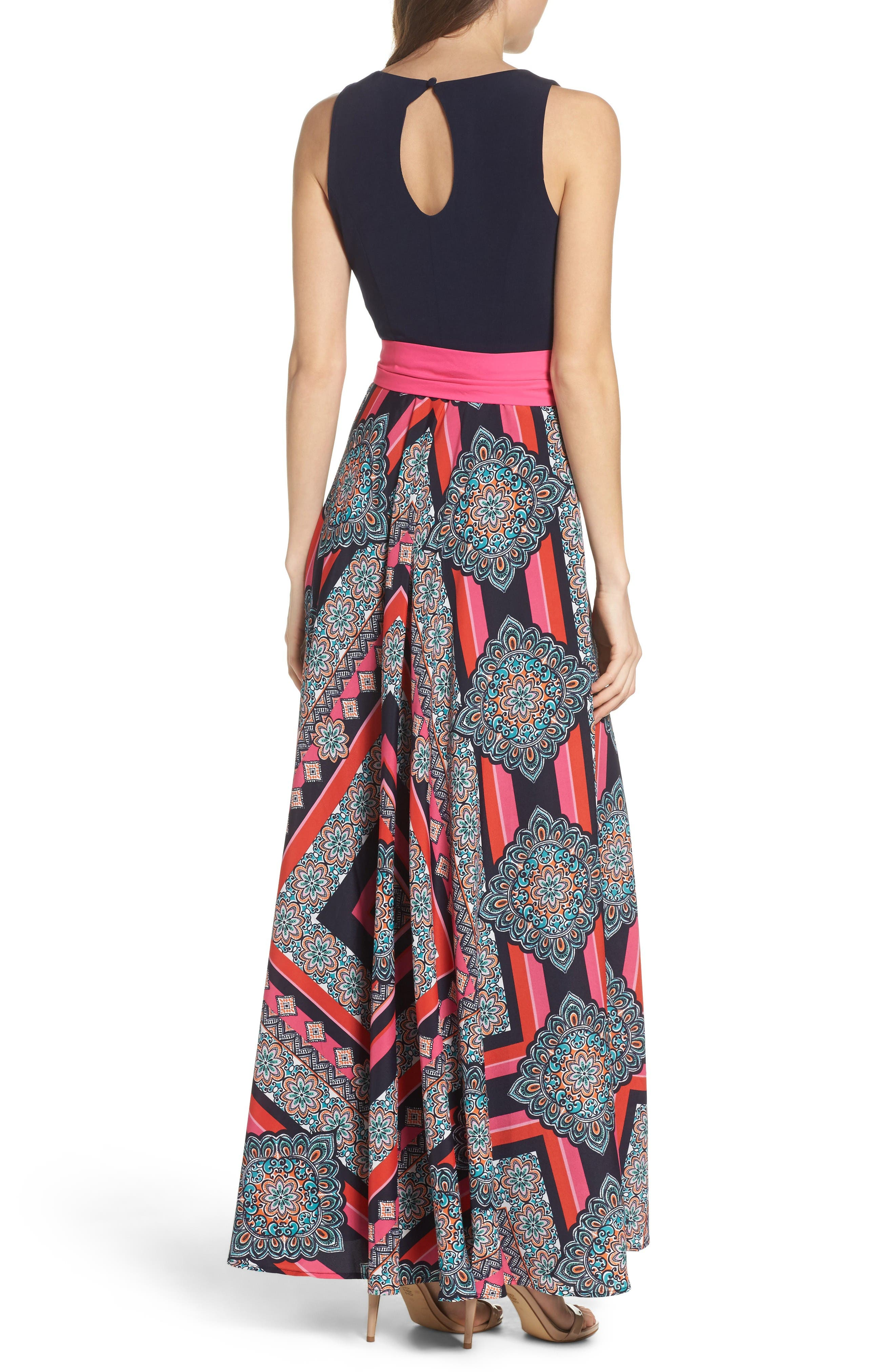 Alternate Image 2  - Eliza J Jersey & Crêpe de Chine Maxi Dress