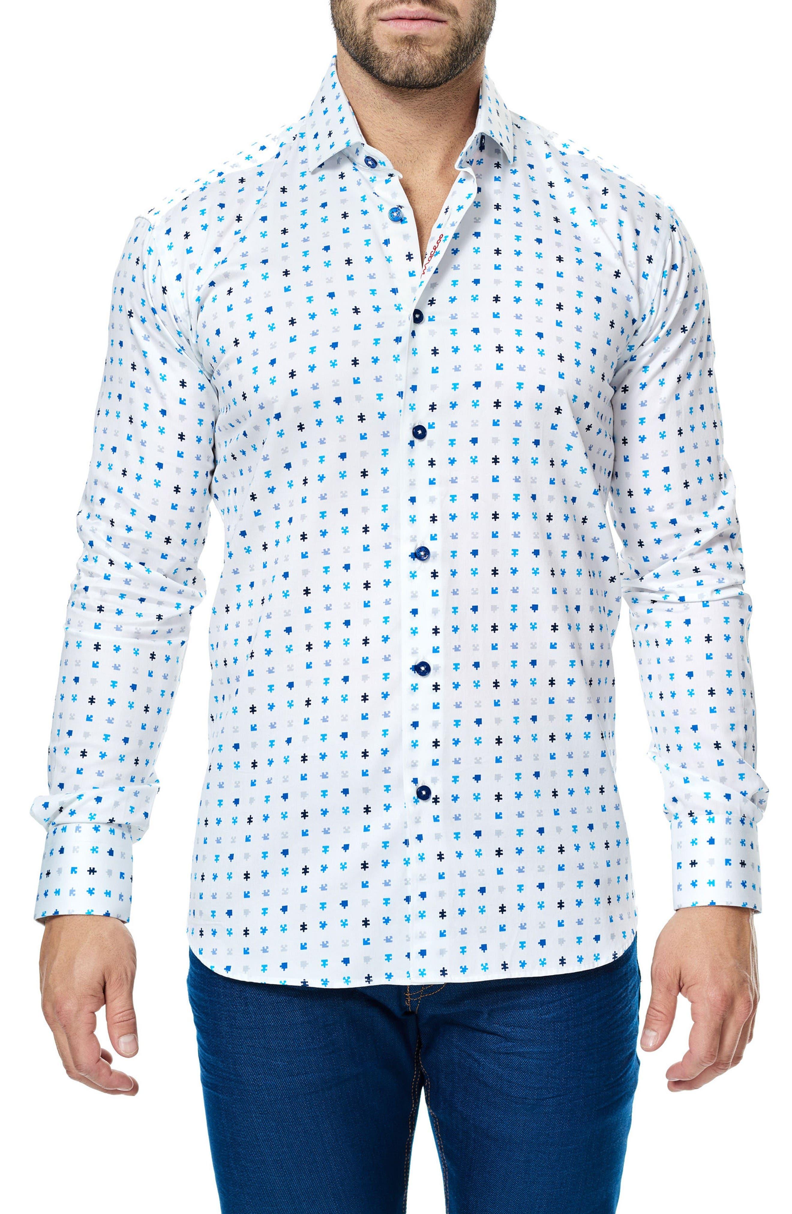 Maceoo Luxor Puzzle Print Sport Shirt