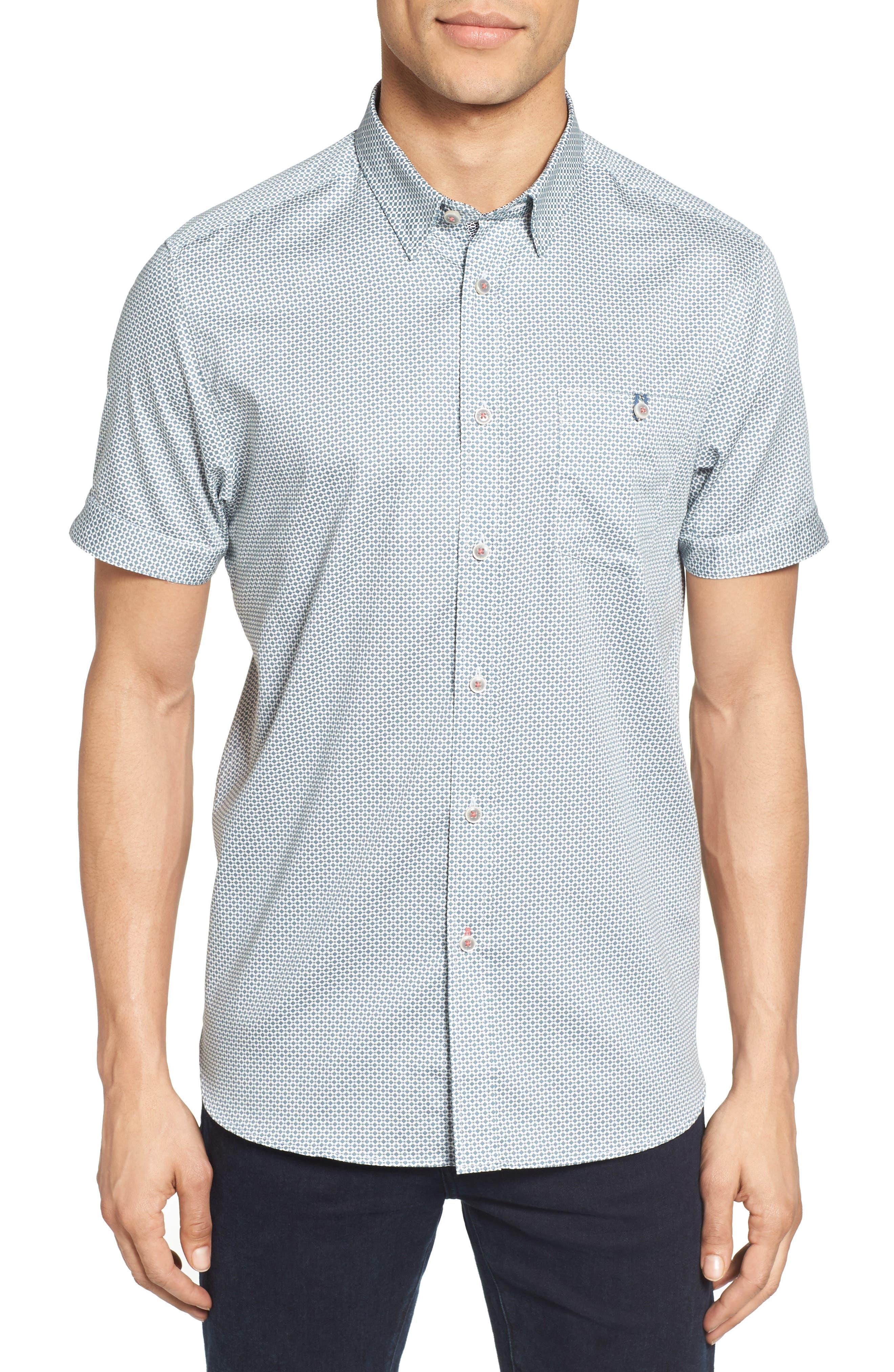 Ted Baker London Munkee Extra Slim Fit Diamond Print Sport Shirt