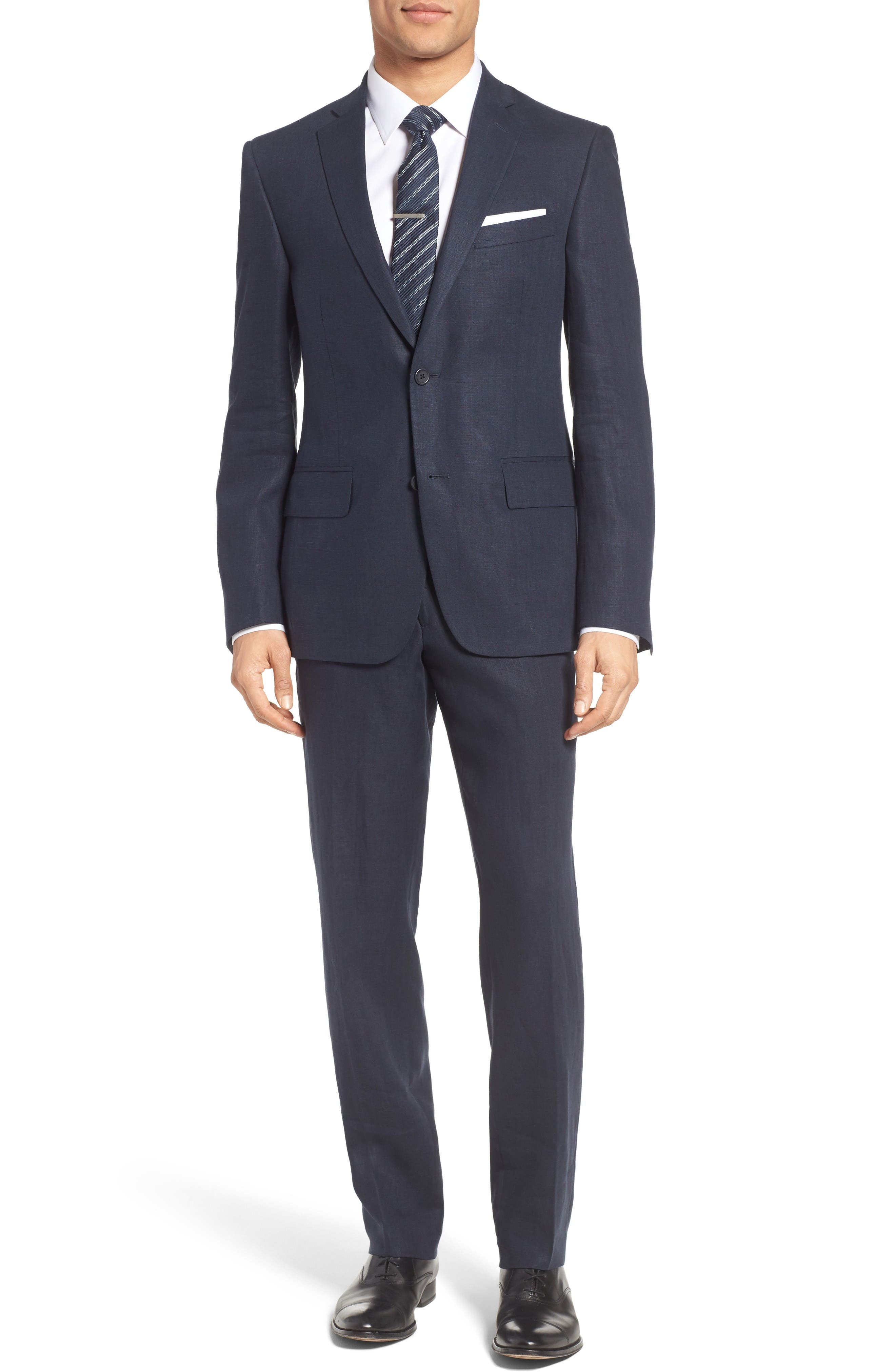 Nordstrom Men's Shop Linen Blazer & Trousers Outfit with Accessories