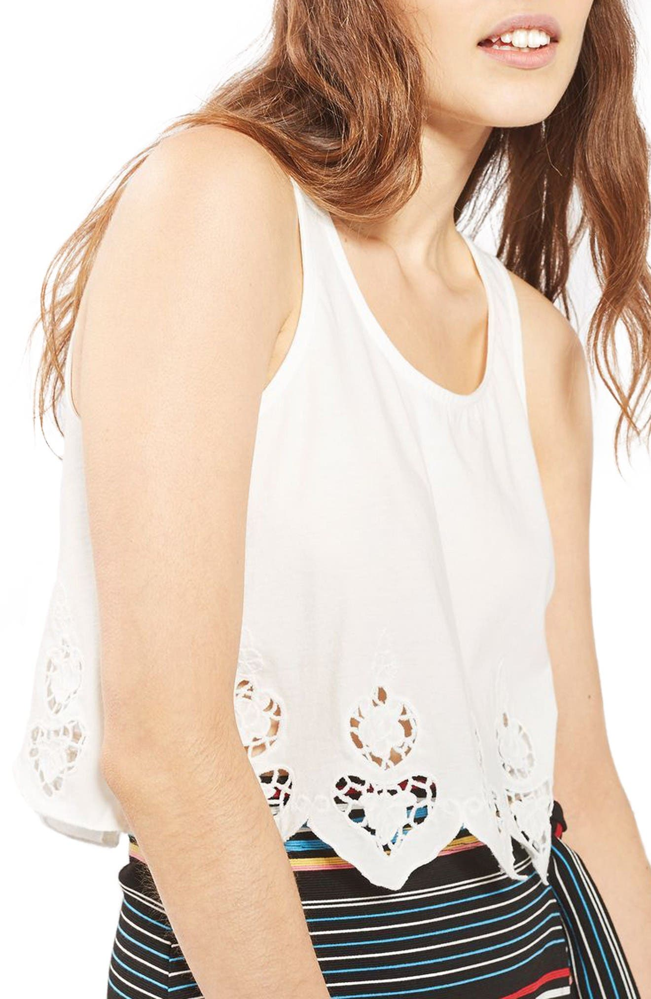 TOPSHOP Embroidered Scallop Swing Tank