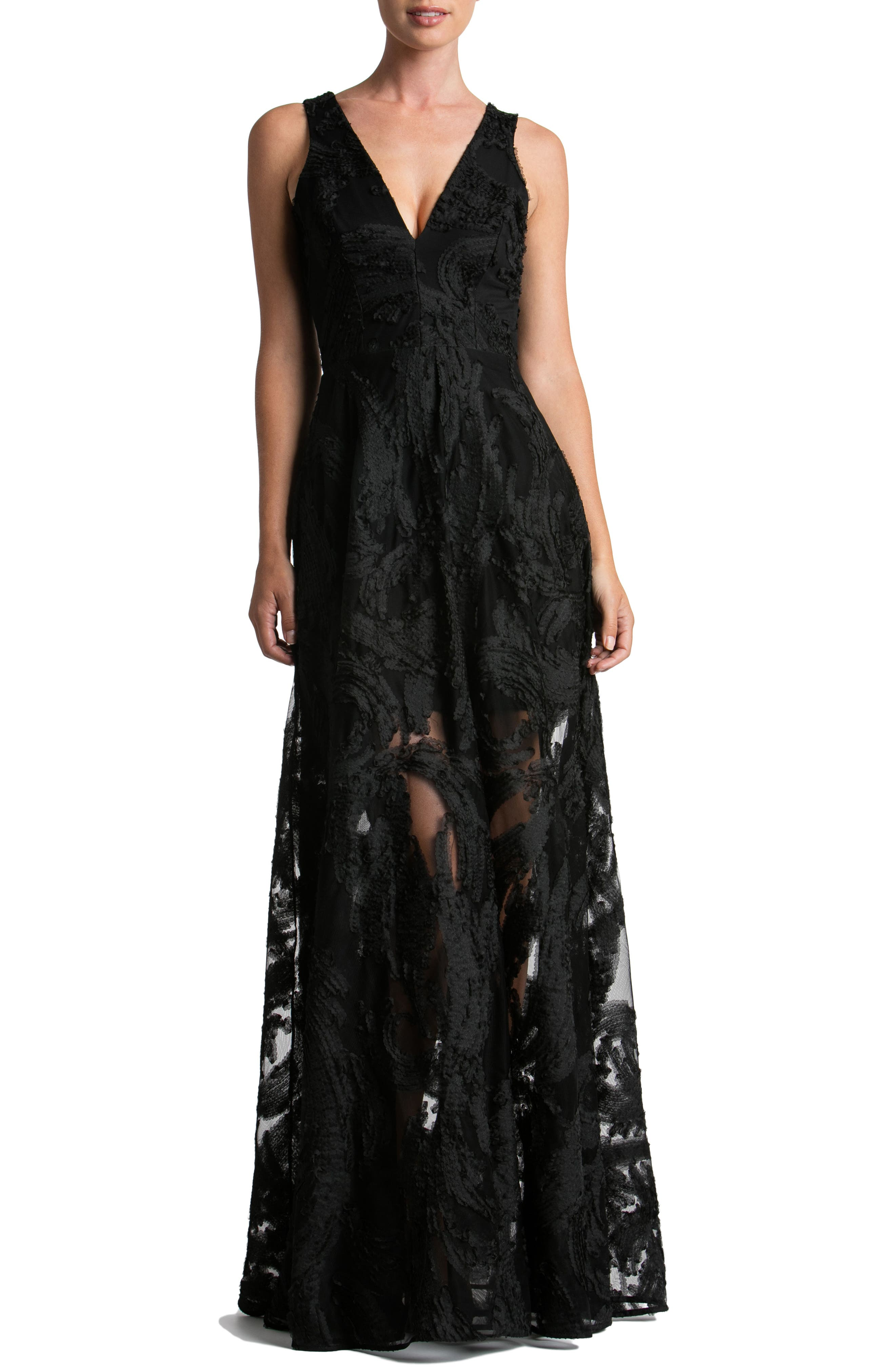 Dress the Population Marlene Plunging Embroidered Mesh Maxi Dress