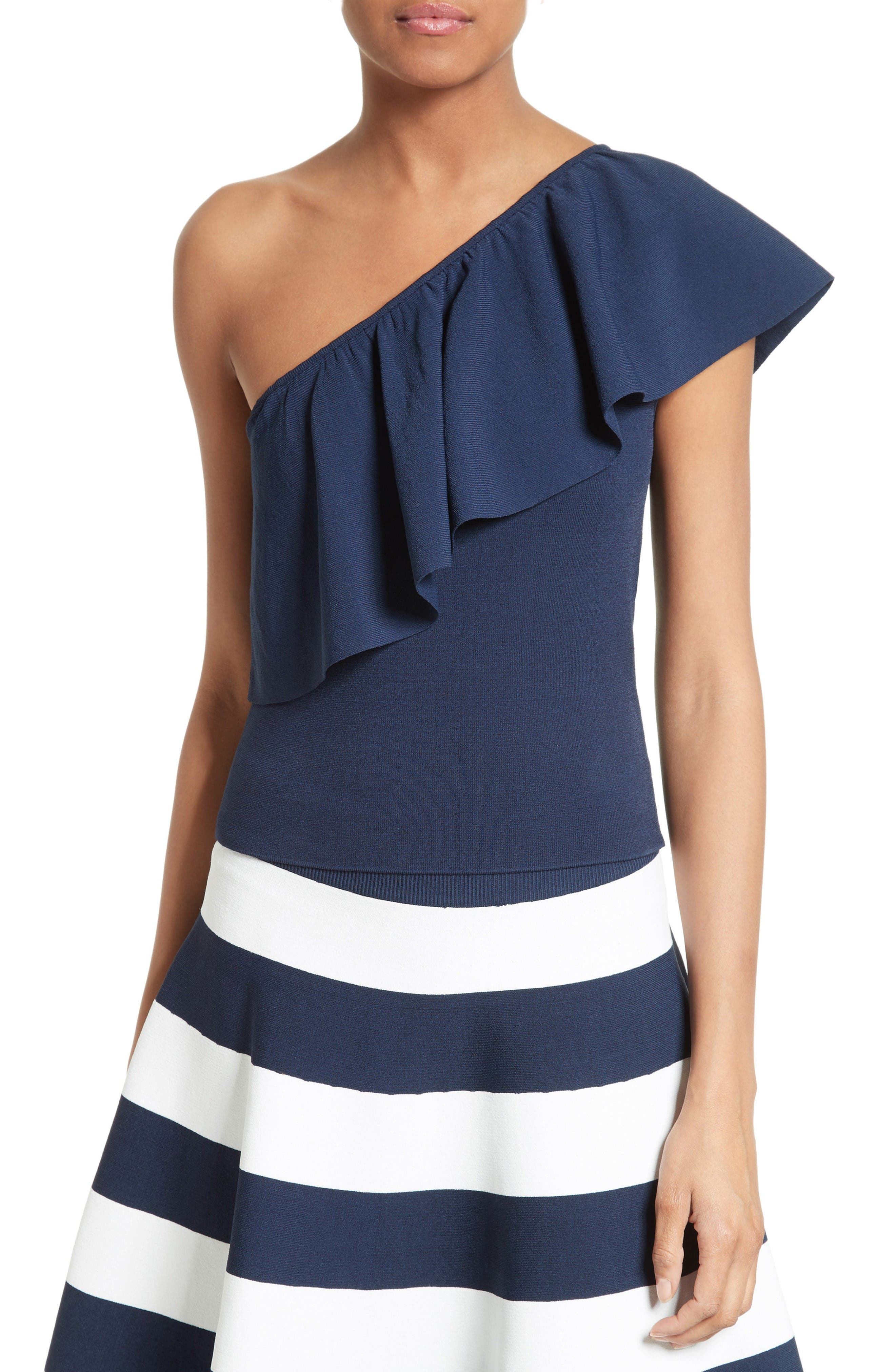 Milly One-Shoulder Flounce Knit Top