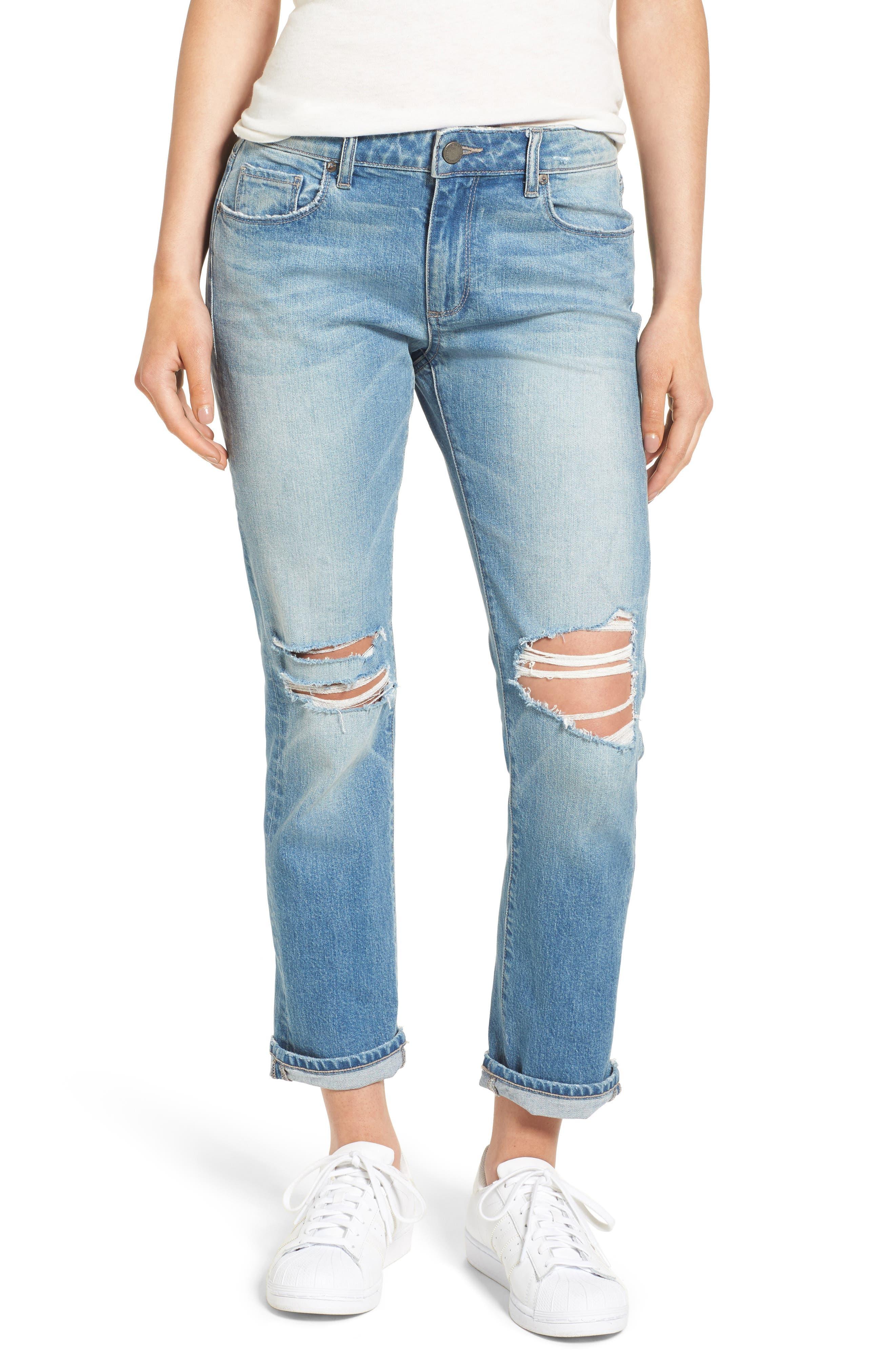 PAIGE Brigitte Distressed Crop Boyfriend Jeans (Regent Destructed)