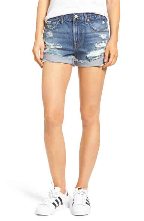 7 For All Mankind® High Waist Cuffed Denim Shorts (Serratoga Bay 4)