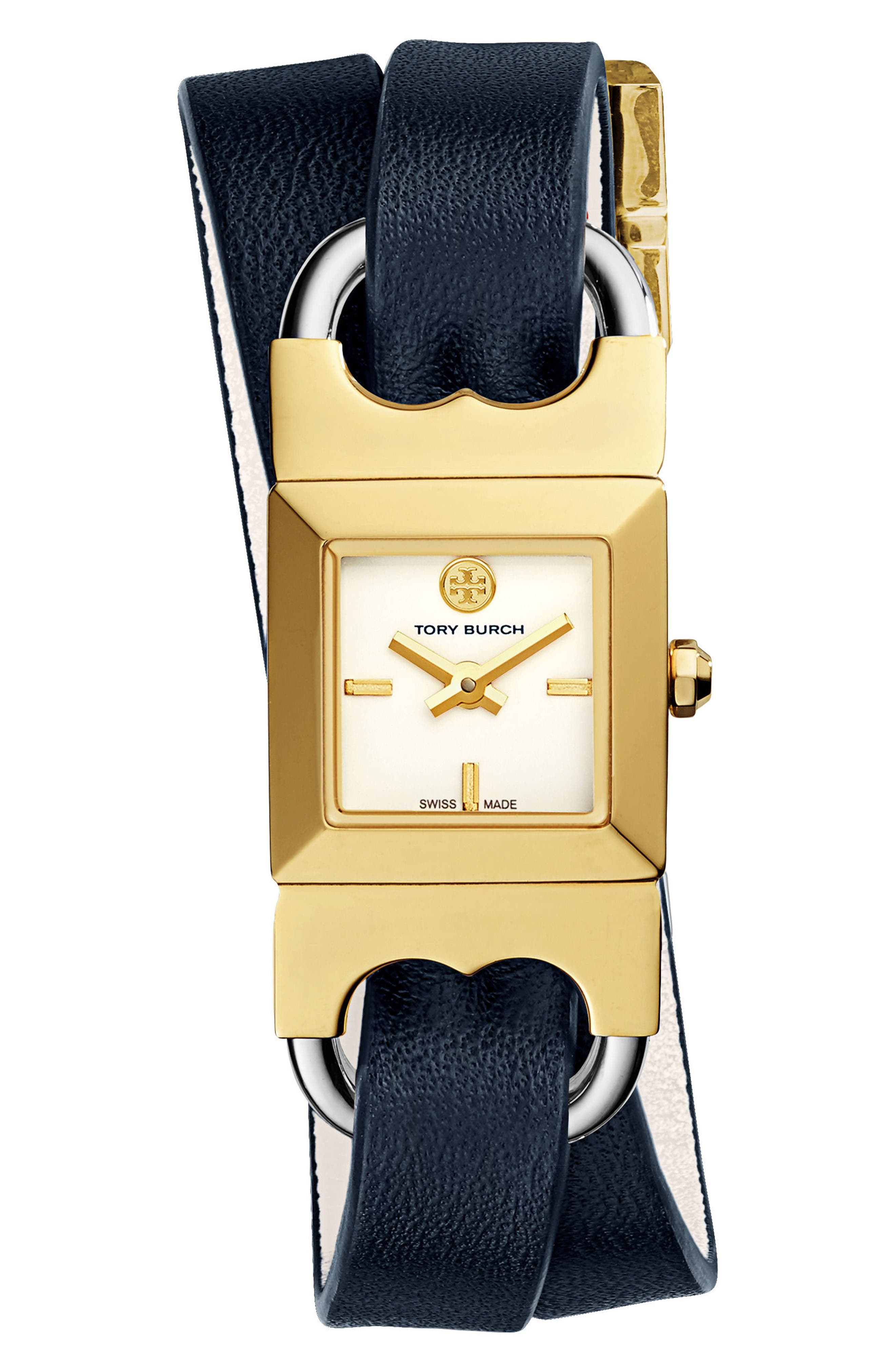 Alternate Image 3  - Tory Burch Double T Link Reversible Wrap Leather Strap Watch, 19mm x 23mm