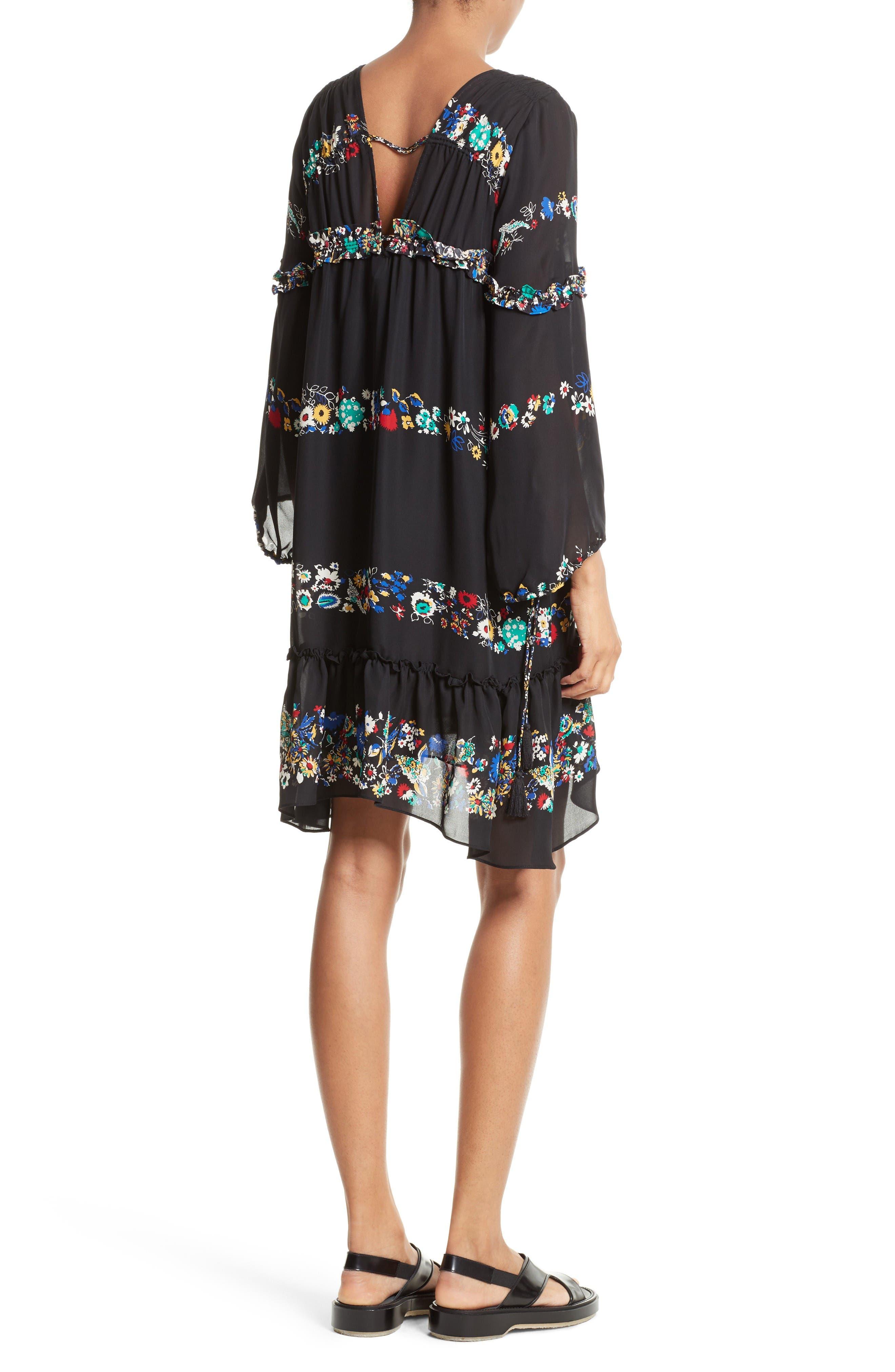 Alternate Image 2  - Derek Lam 10 Crosby Floral Stripe Ruffle Silk Dress