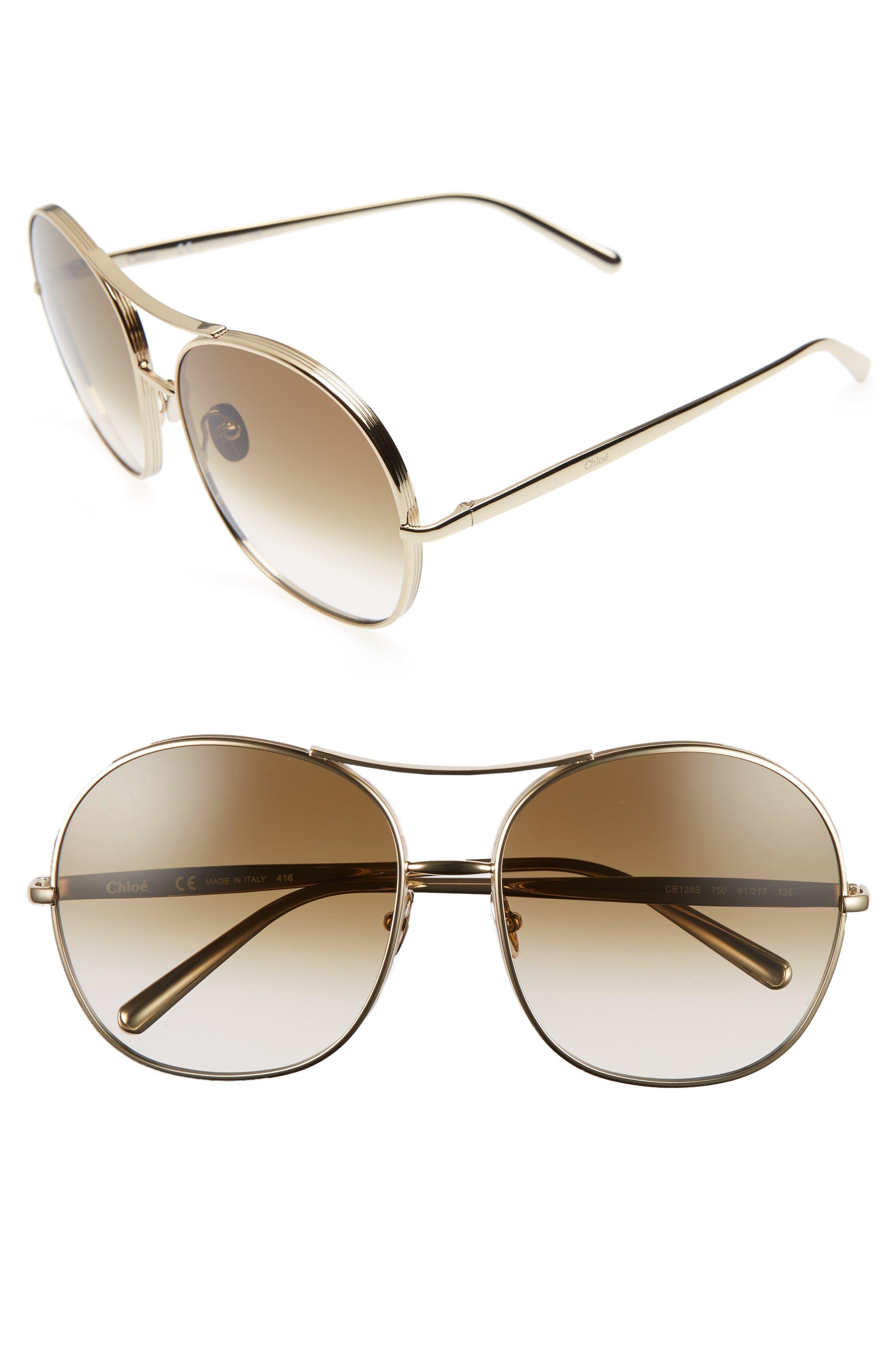 Chloé 61mm Oversize Aviator Sunglasses