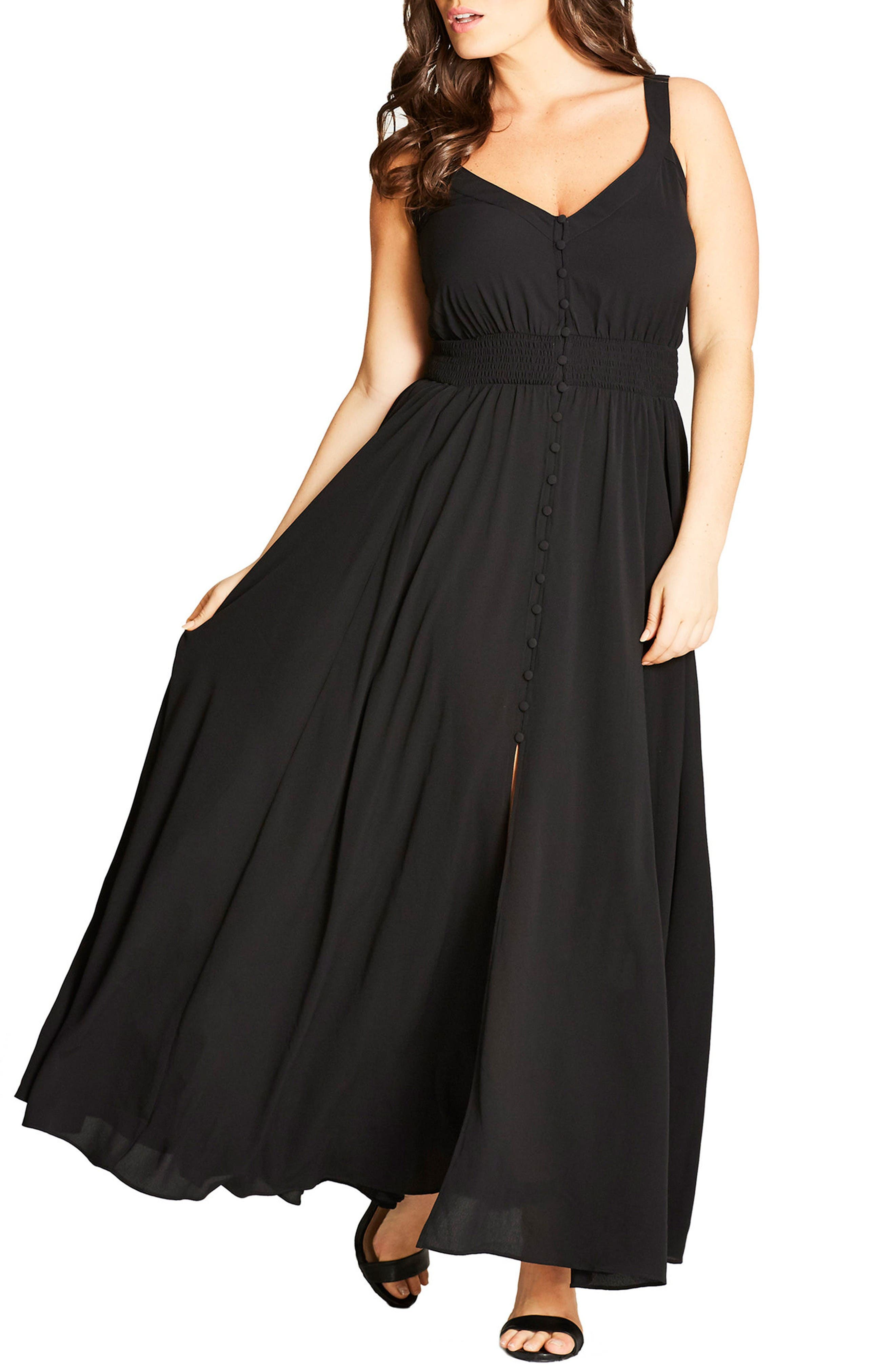 City Chic Button Front Maxi Dress (Plus Size)